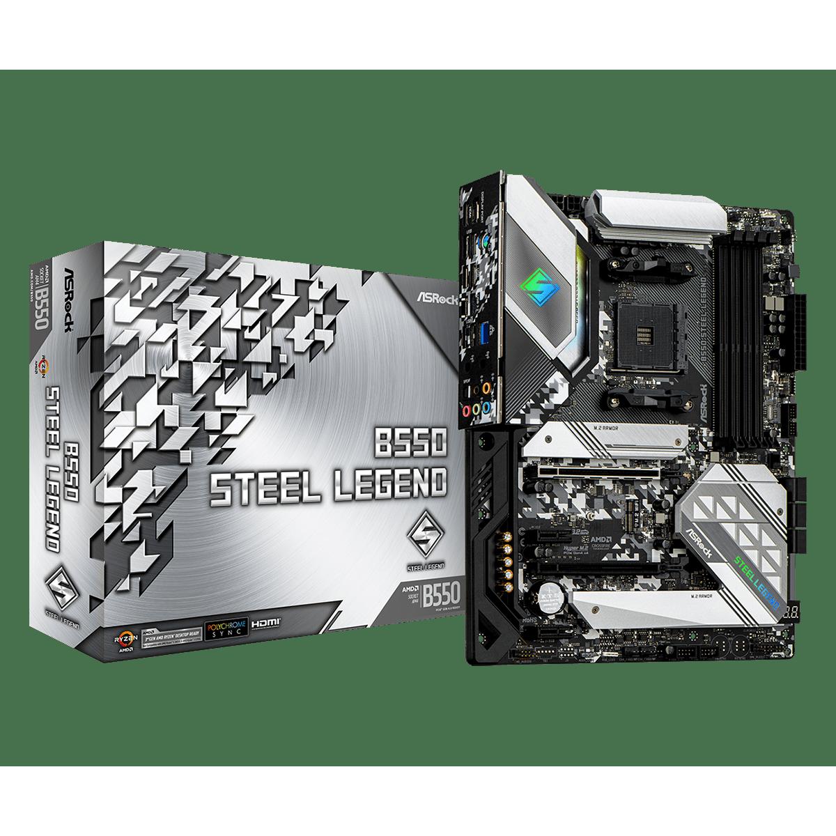 Placa Mãe AsRock B550 Steel Legend, Chipset B550, AMD AM4, ATX, DDR4