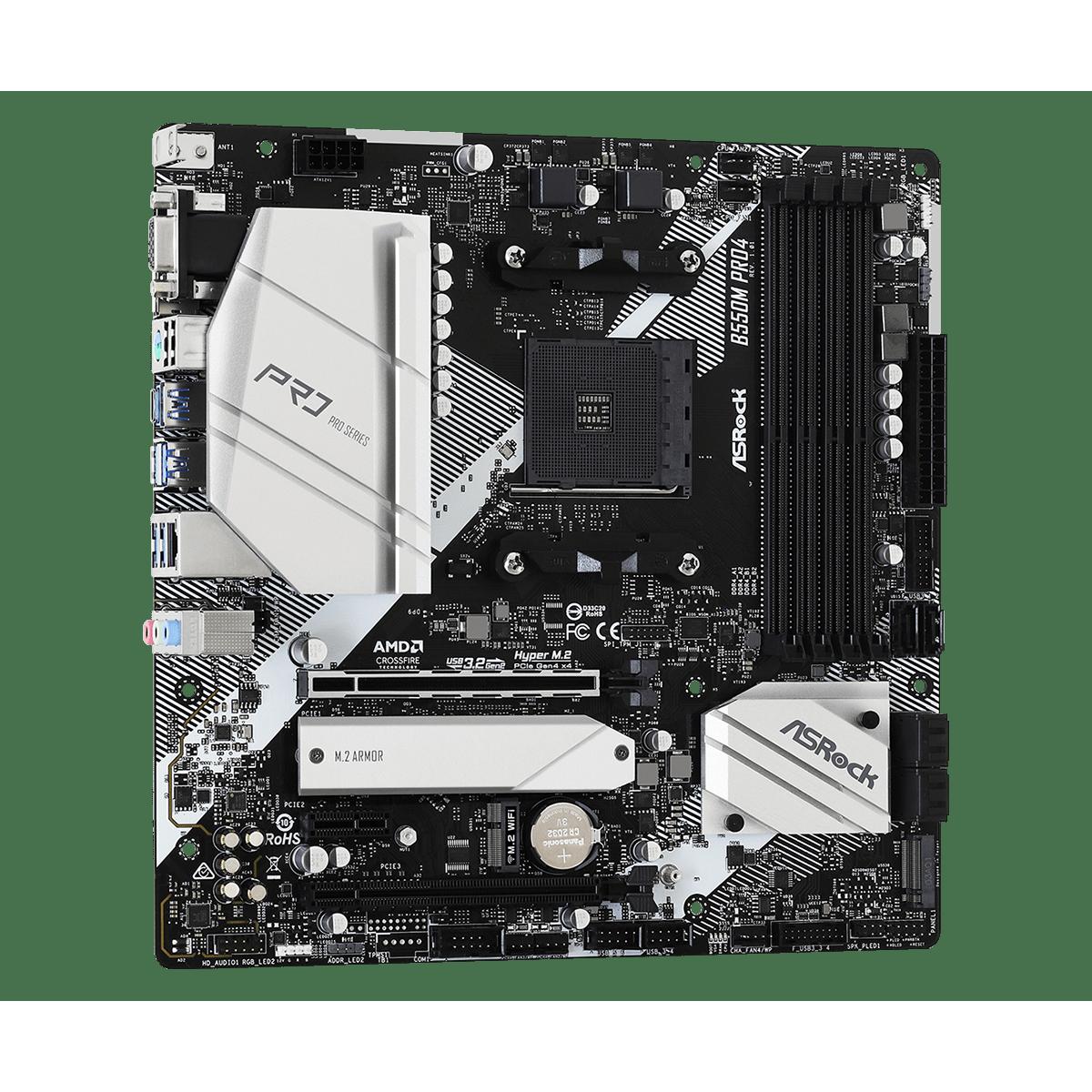 Placa Mãe AsRock B550M Pro4, B550, AMD AM4, mATX, DDR4, 90-MXBDK0-A0UAYZ