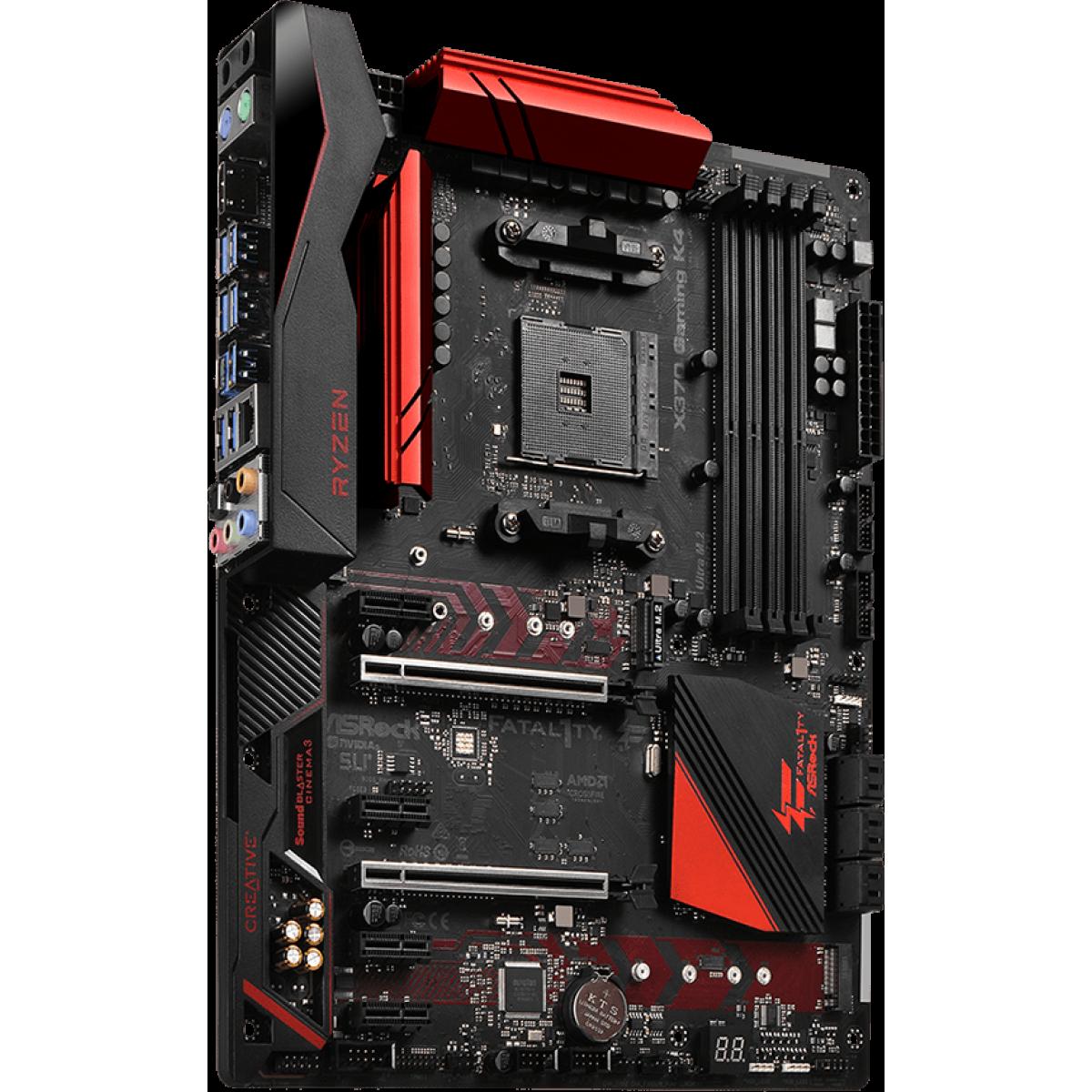 Placa Mãe Asrock Fatal1ty X370 Gaming K4, Chipset X370, AMD AM4, ATX, DDR4
