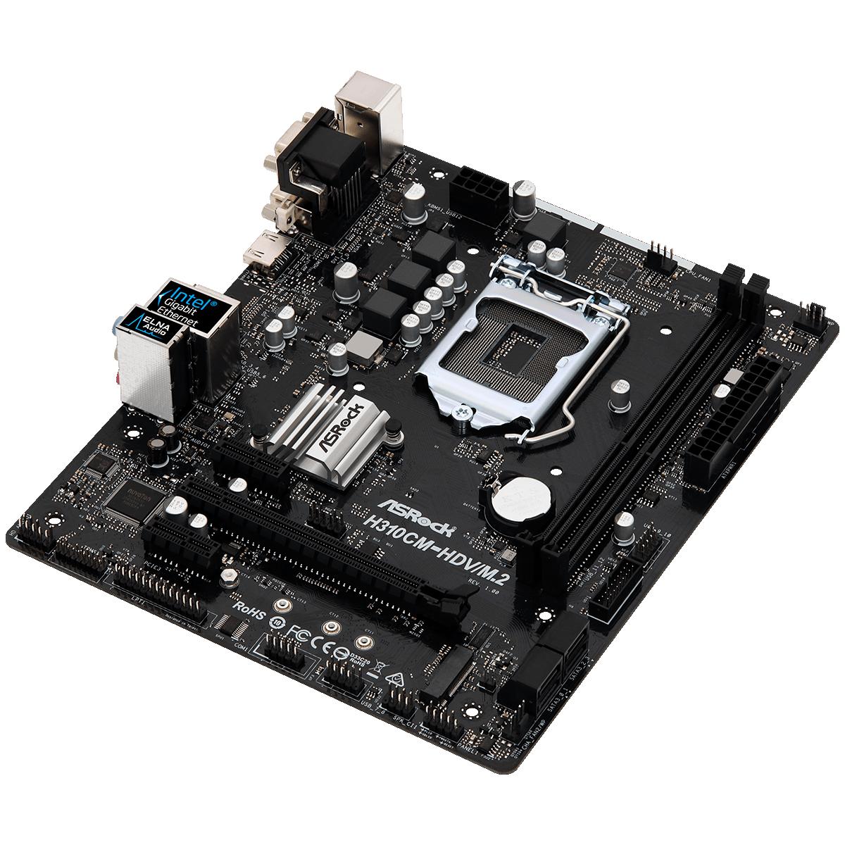 Placa Mãe ASRock H310CM-HDV/M.2, Chipset H310, Intel LGA 1151, mATX, DDR4