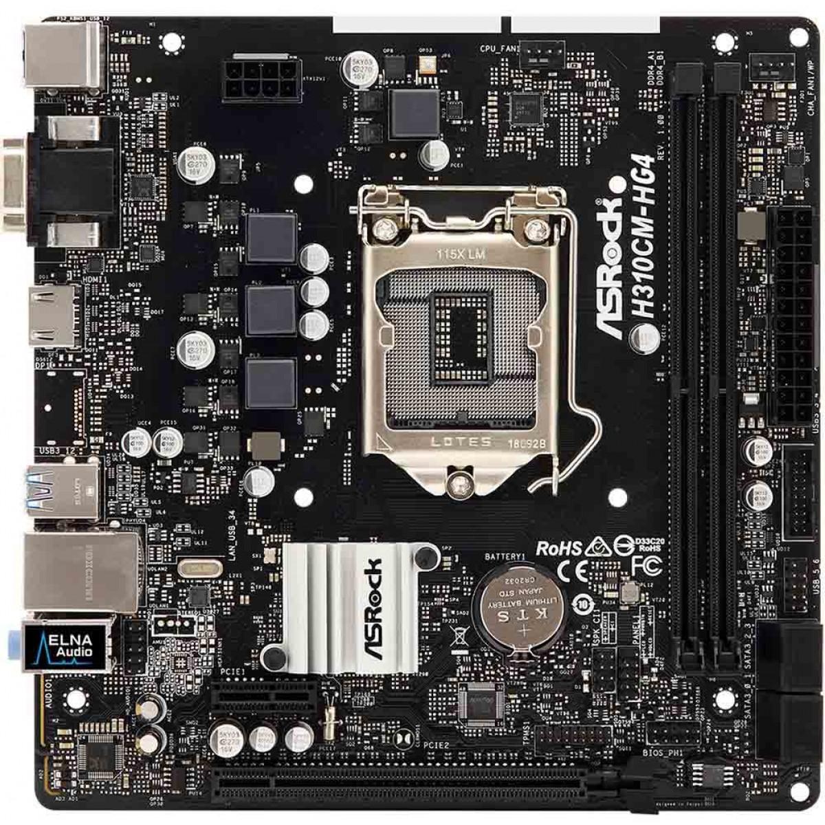 Placa Mãe ASRock H310CM-HG4, Chipset H310, Intel LGA 1151, mATX, DDR4