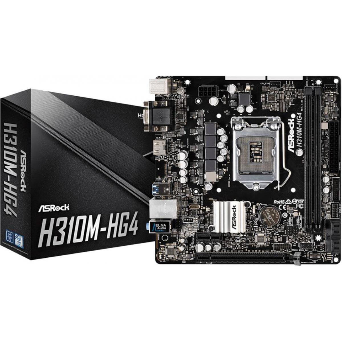 Placa Mãe ASRock H310M-HG4, Chipset H310, Intel LGA 1151, mATX, DDR4