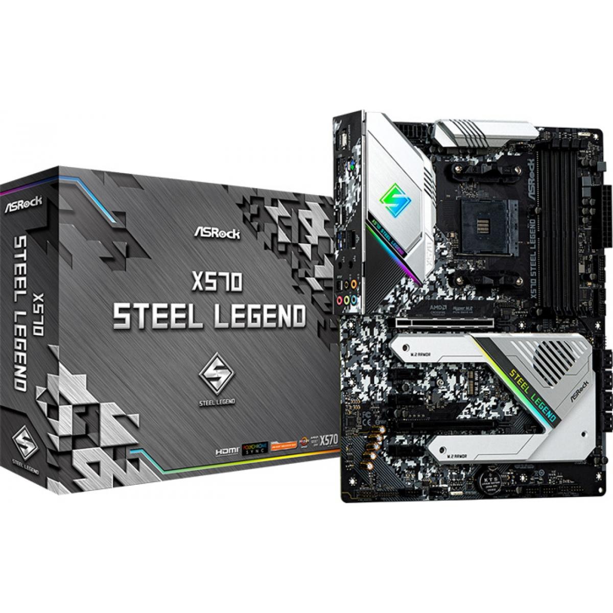 Placa Mãe ASRock X570 Steel Legend, Chipset X570, AMD AM4, ATX, DDR4