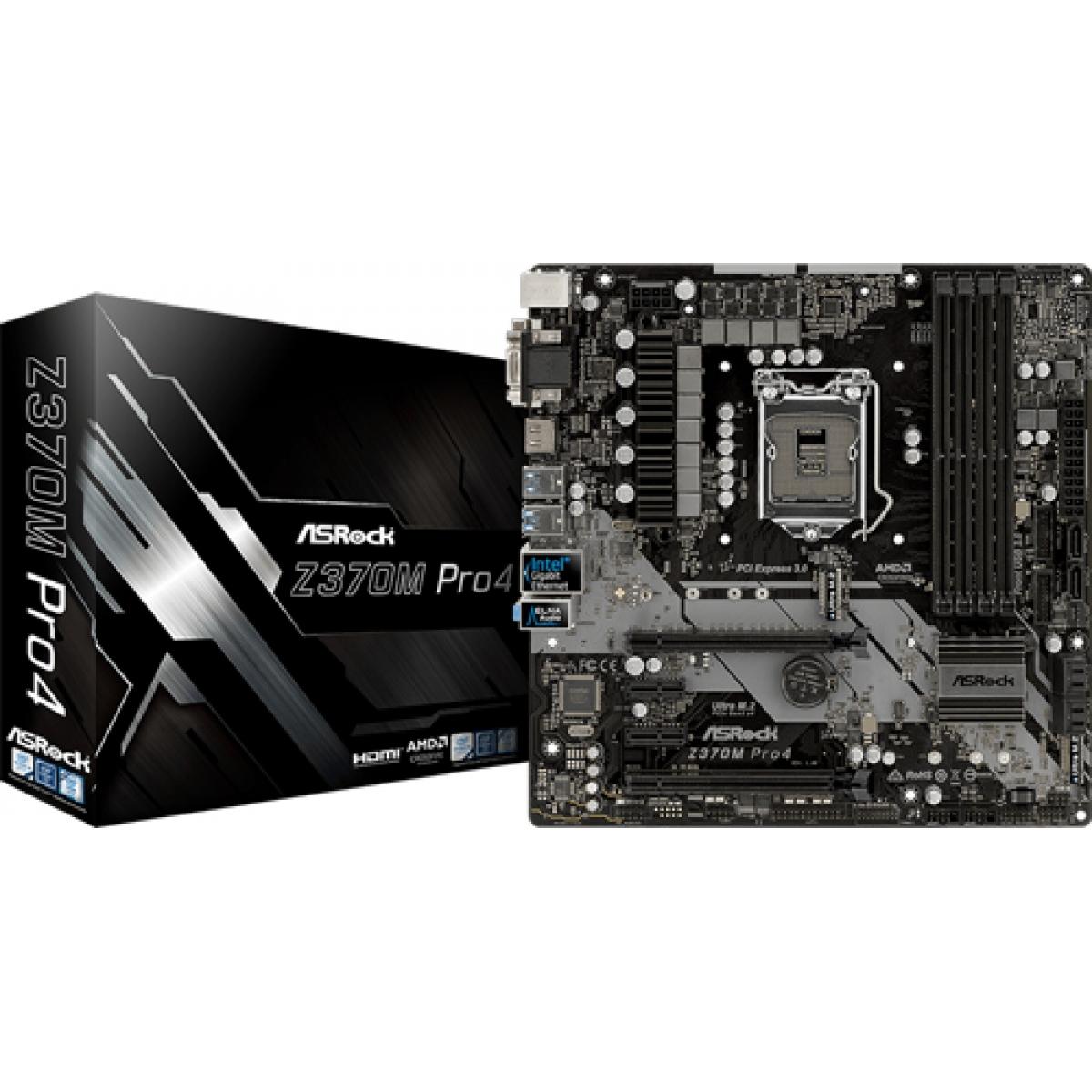 Placa Mãe ASRock Z370M Pro4, Chipset Z370, Intel LGA 1151, mATX, DDR4
