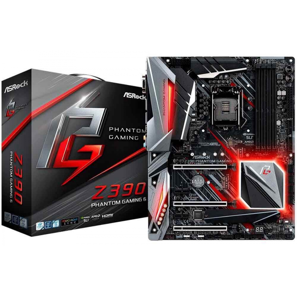 Placa Mãe ASRock Z390 Phantom Gaming 6, Chipset Z390, Intel LGA 1151, ATX, DDR4