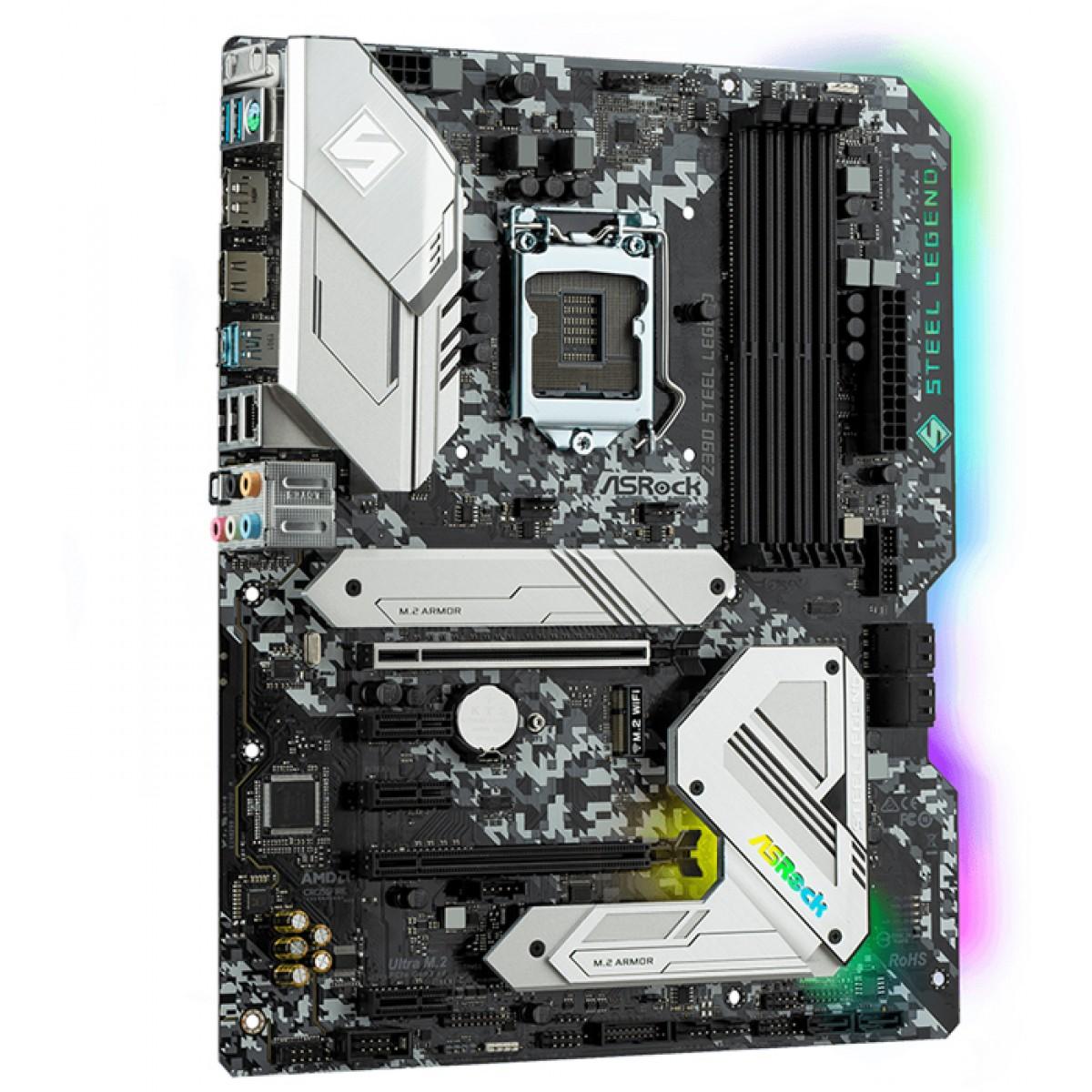 Placa Mãe Asrock Z390 Steel Legend, Chipset Z390, Intel LGA 1151, ATX, DDR4, 90-MXBAL0-A0UAYZ