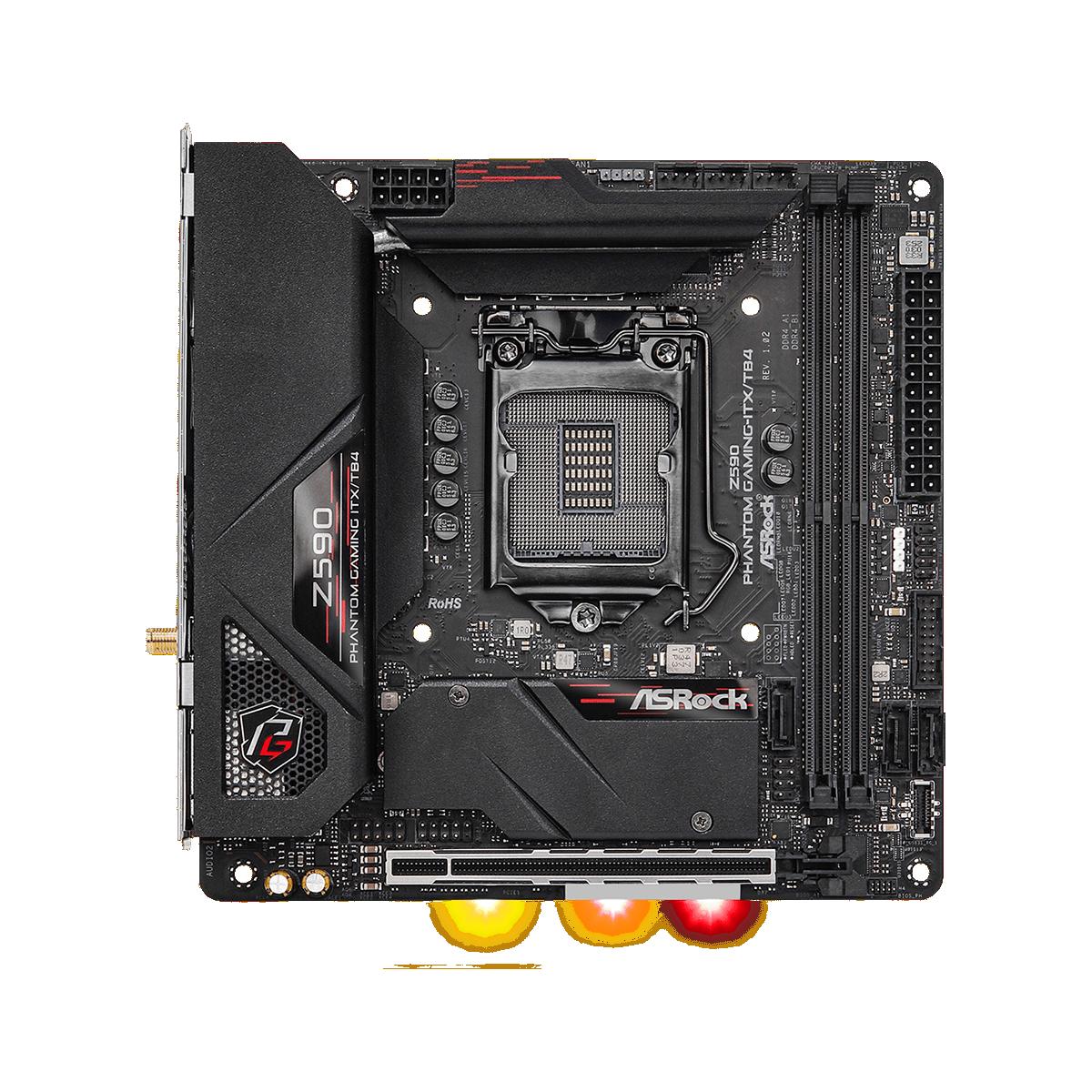 Placa Mãe ASRock Z590 Phantom Gaming-ITX/TB4, Chipset Intel Z90, Socket 1200, Mini-ITX, DDR4