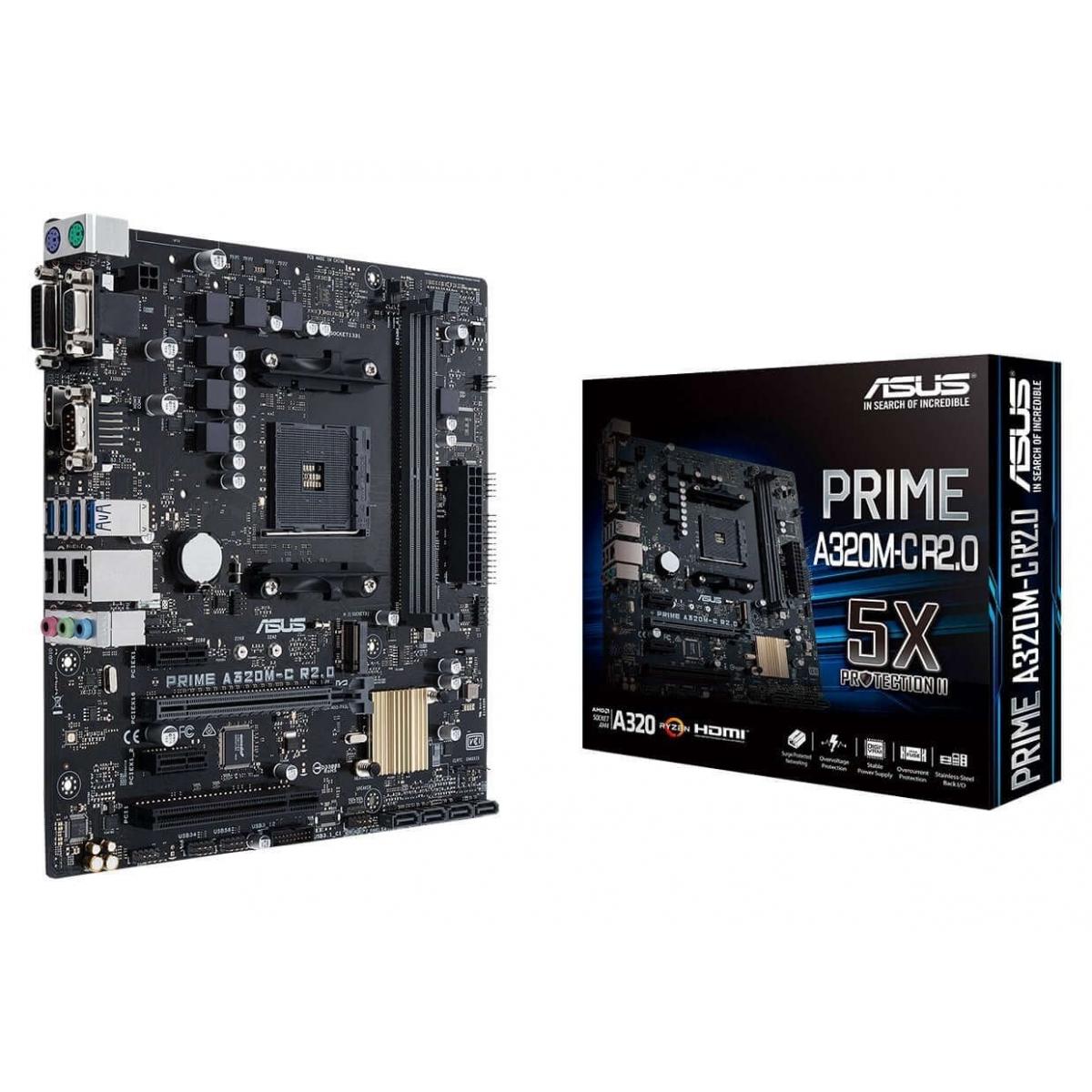Placa Mãe Asus PRIME A320M-C R2.0, Chipset A320, AMD AM4, mATX, DDR4