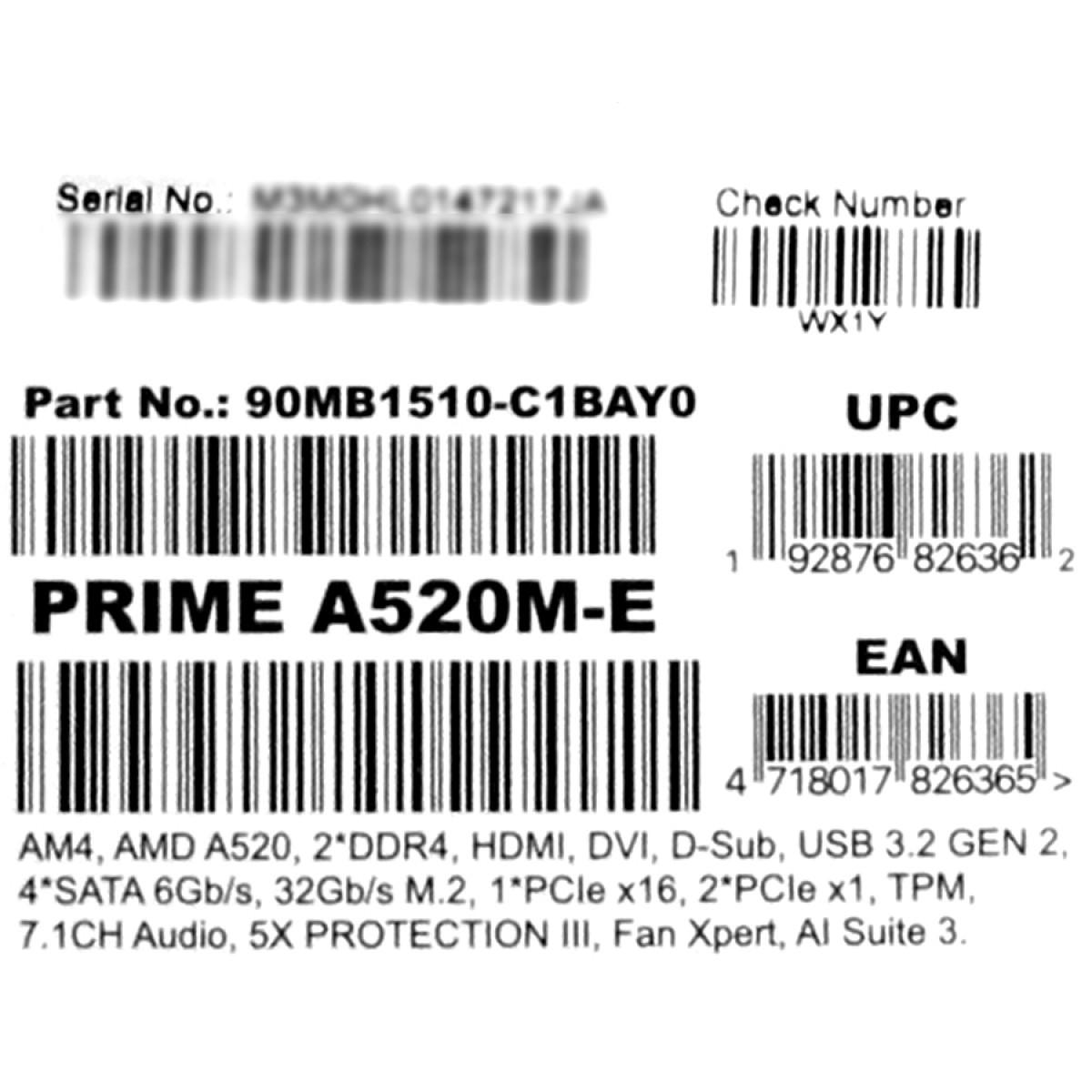 Placa Mãe Asus Prime A520M-E, Chipset A520, AMD AM4, mATX, DDR4, 90MB1510-C1BAY0