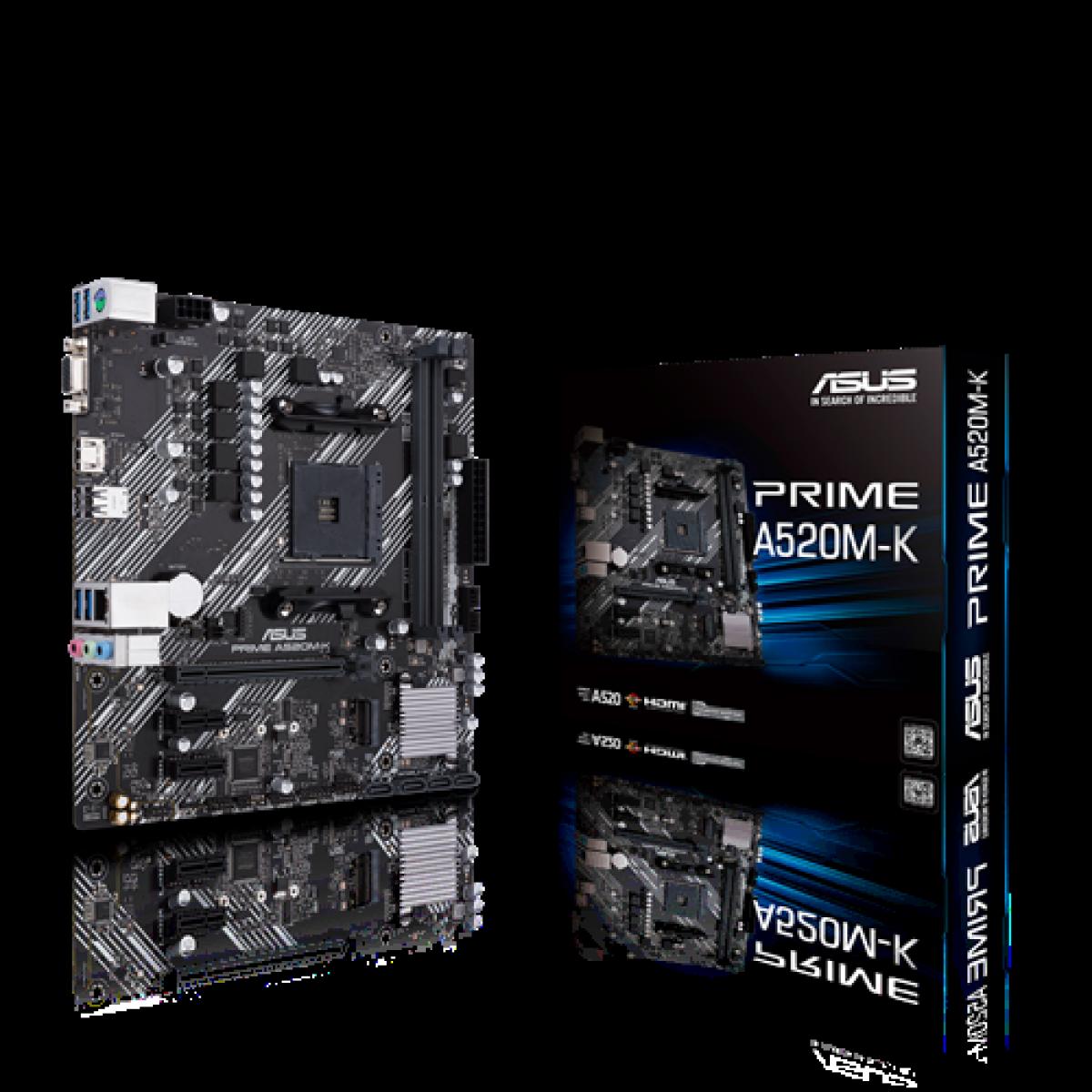 Placa Mãe ASUS Prime A520M-K, Chipset A520, AMD AM4, mATX, DDR4, 90MB1500-M0EAY0