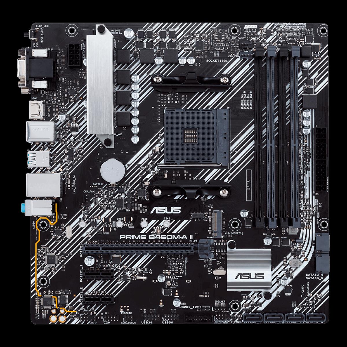 Placa Mãe Asus Prime B450M-A II, Chipset B450, AMD AM4, mATX, DDR4, 90MB15Z0-M0EAY0