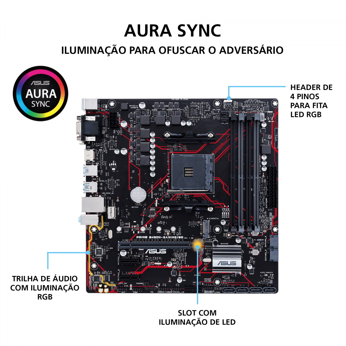 Placa Mãe Asus Prime B450M Gaming/BR, Chipset B450, AMD AM4, mATX, DDR4