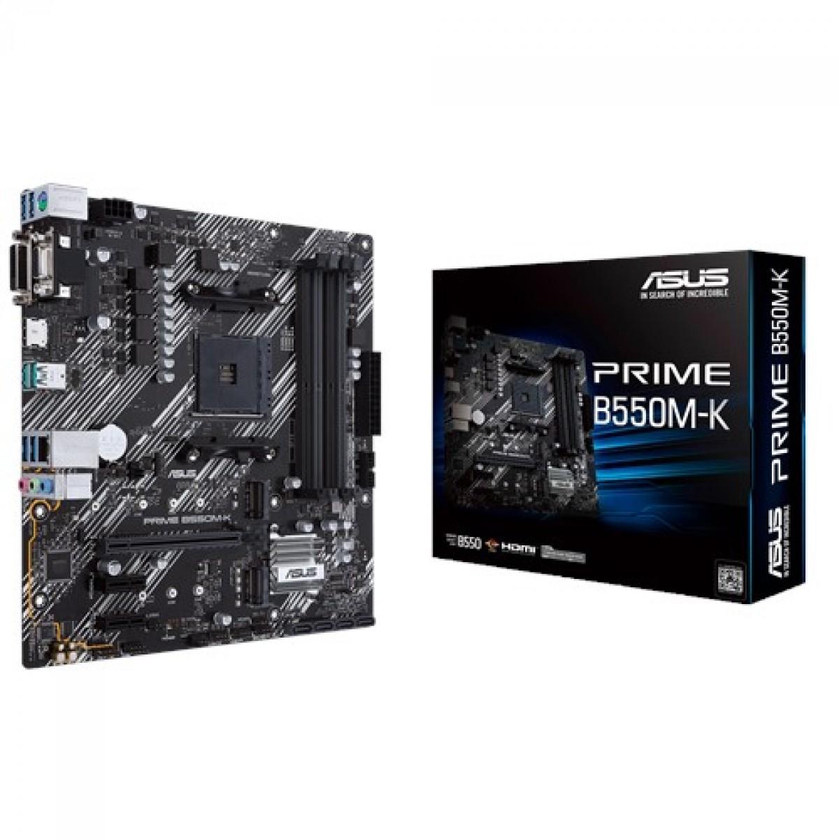 Placa Mãe ASUS Prime B550M-K, Chipset B550, AMD AM4, mATX, DDR4, 90MB14V0-M0EAY0