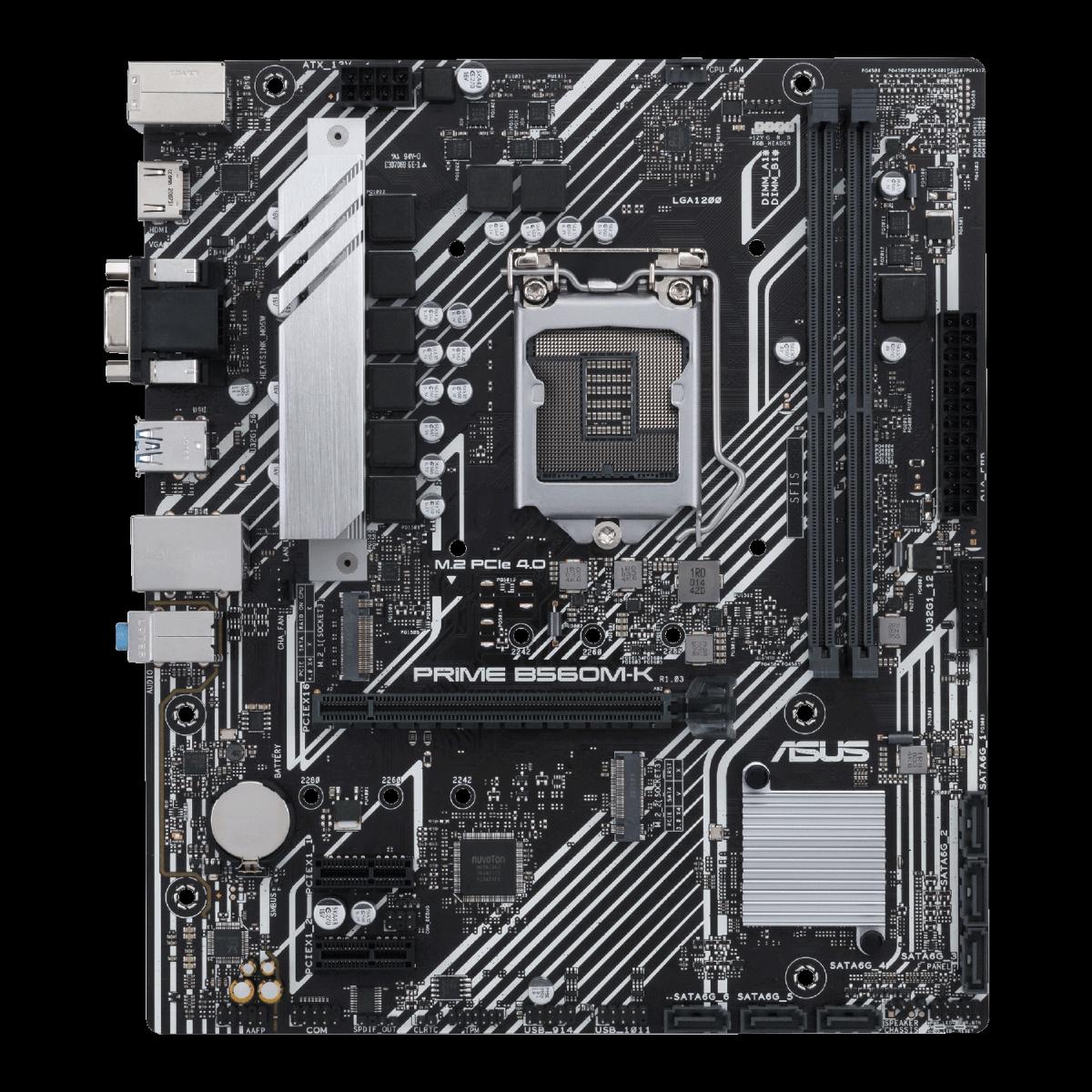 Placa Mãe Asus Prime B560M-K, Chipset B560, Intel LGA 1200, mATX, DDR4, 90MB16S0-M0EAY0