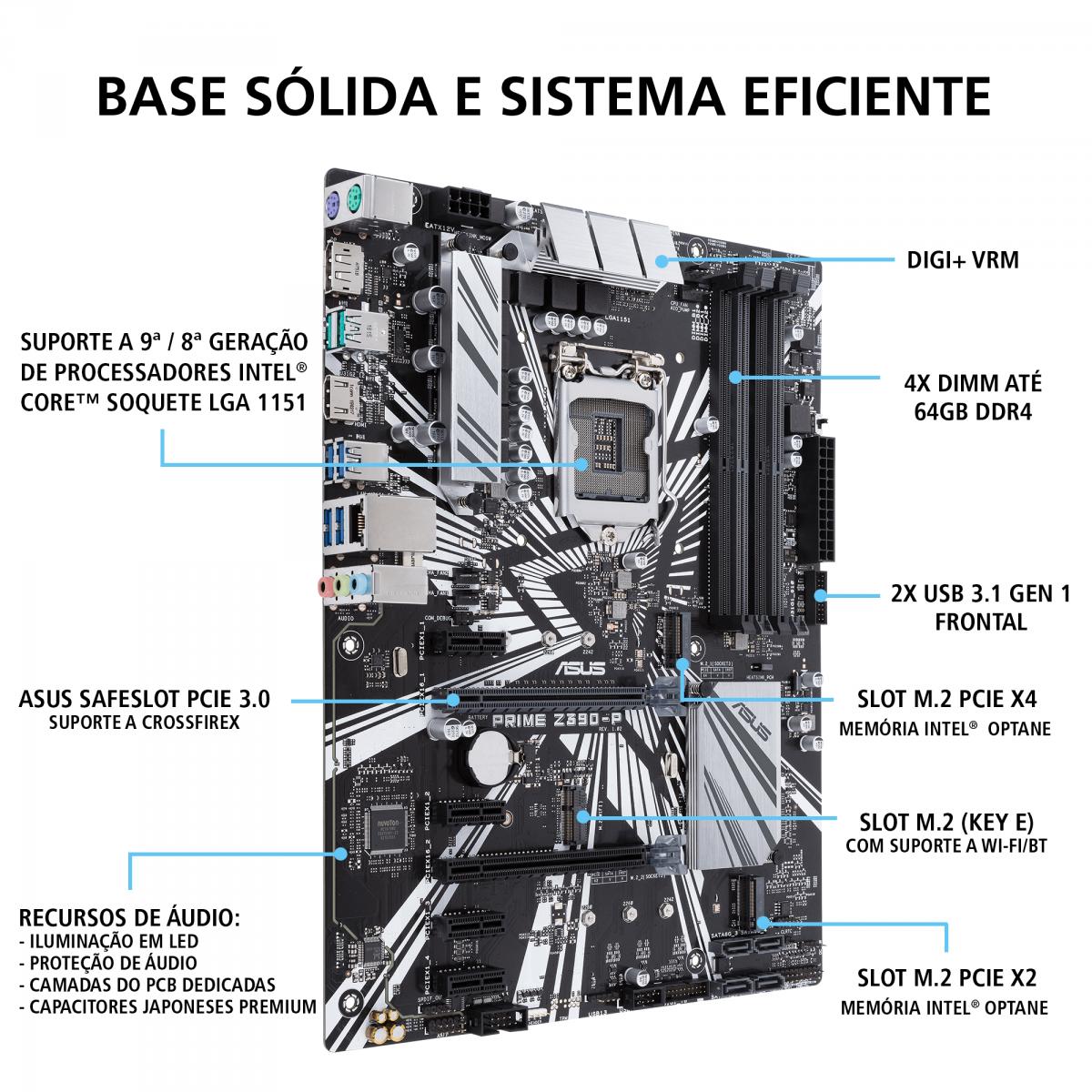 Placa Mãe Asus Prime Z390-P, Chipset Z390, Intel LGA 1151, ATX, DDR4
