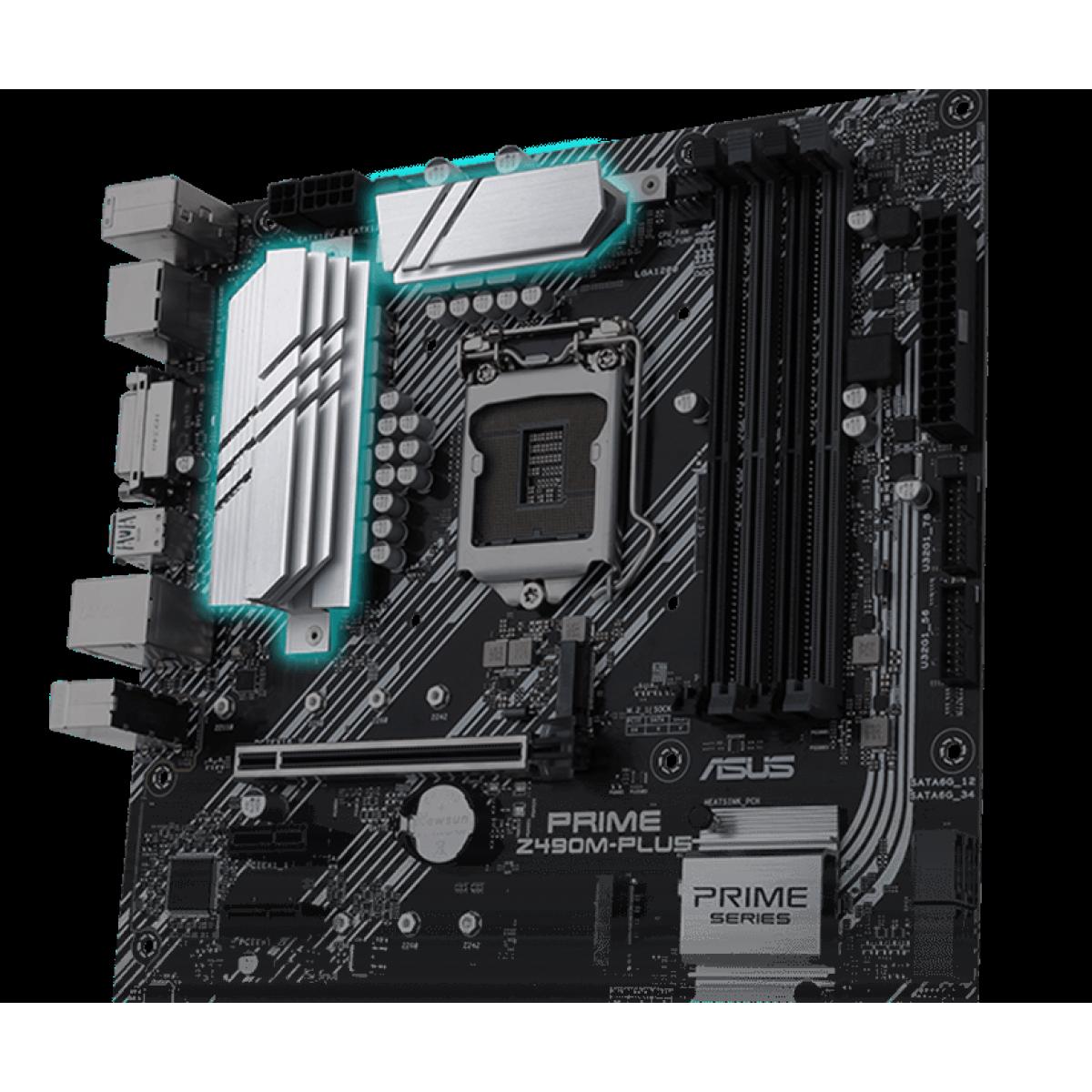 Placa Mãe ASUS PRIME Z490M-PLUS, Chipset Z490, Intel LGA 1200, mATX, DDR4