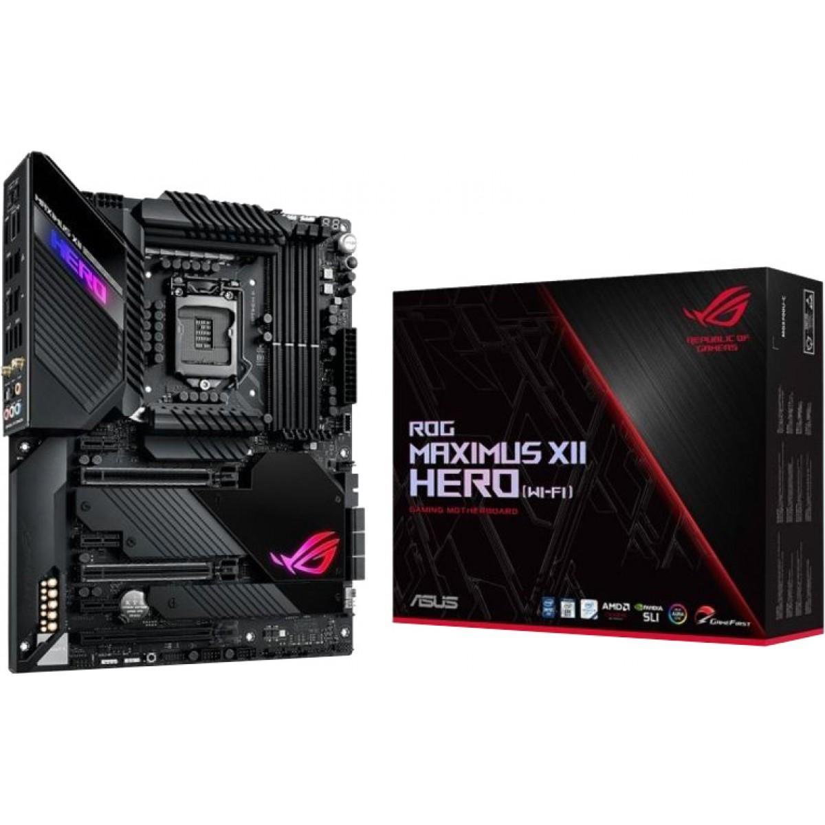 Placa Mãe Asus Rog Maximus Xii Hero Wi-fi, Chipset Z490, Intel LGA 1200, ATX, DDR4
