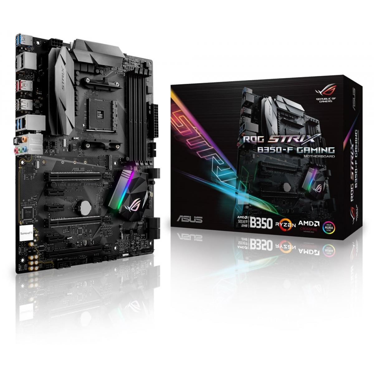 Placa Mãe Asus ROG STRIX B350-F GAMING, Chipset B350, AMD AM4, ATX, DDR4