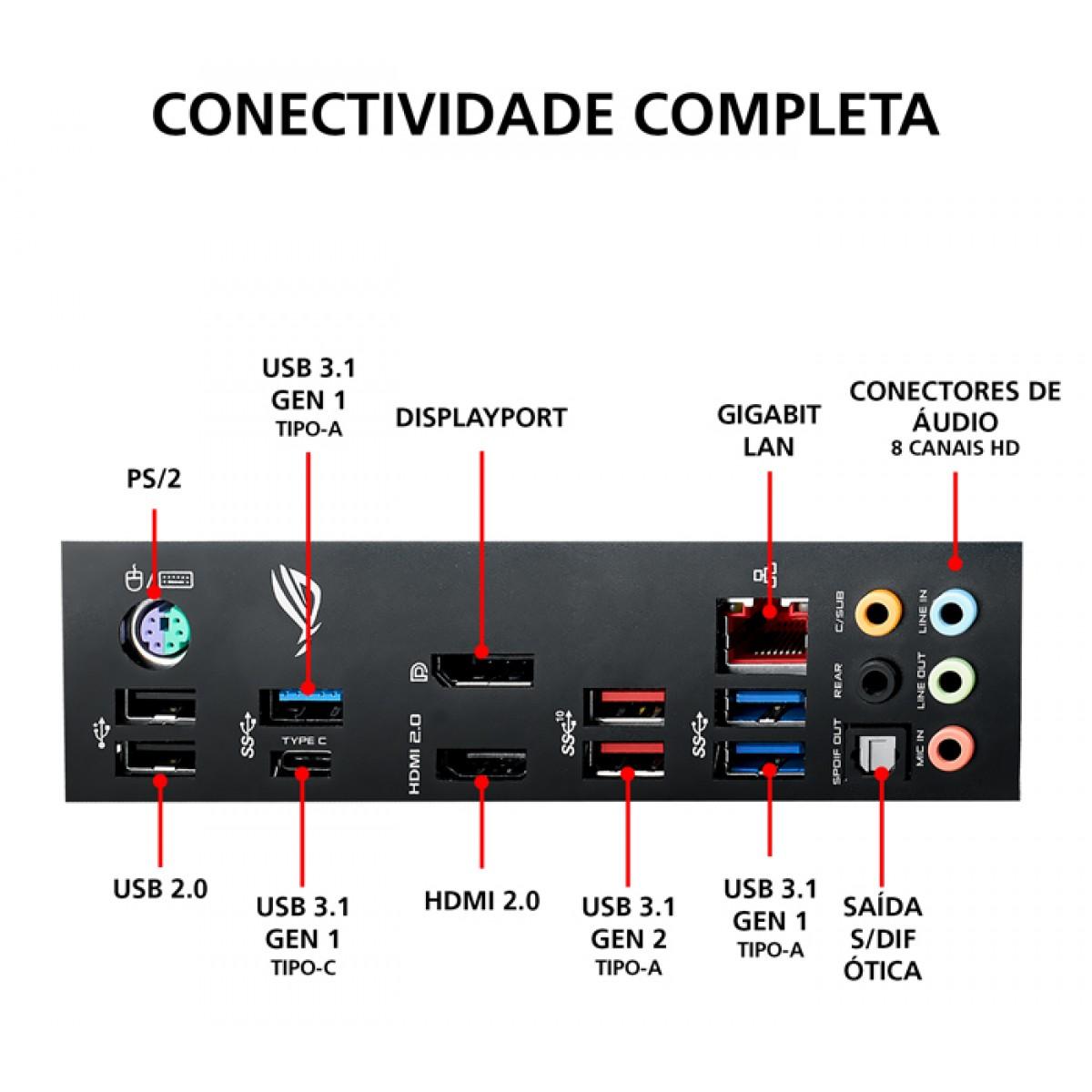 Placa Mãe Asus ROG STRIX B450-E GAMING Wifi, Chipset B450, AMD AM4, ATX, DDR4