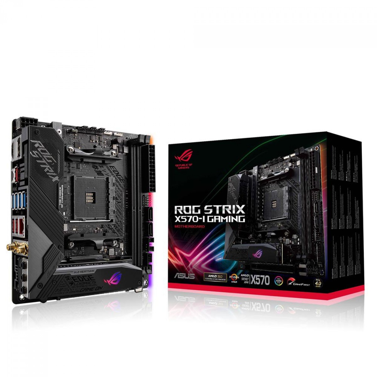 Placa Mãe Asus ROG Strix X570-I Gaming, Chipset X570, AMD AM4, Mini ITX, DDR4, 90MB1140-M0EAY0