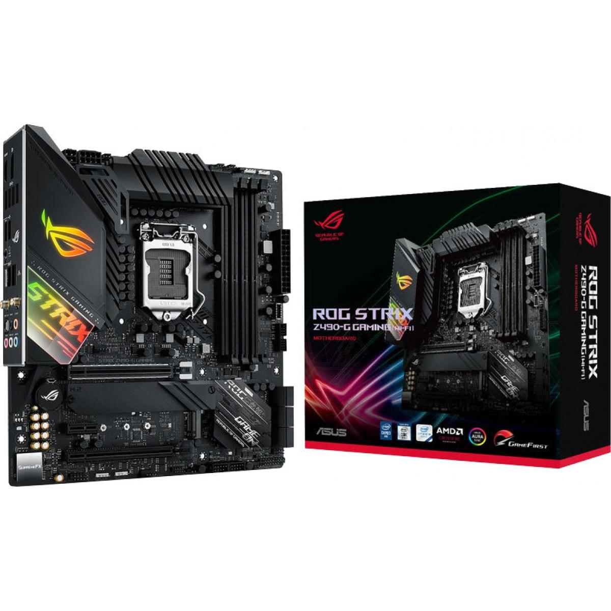 Placa Mãe Asus Rog Strix Z490-G Gaming Wi-Fi, Chipset Z490, Intel LGA 1200, mATX, DDR4