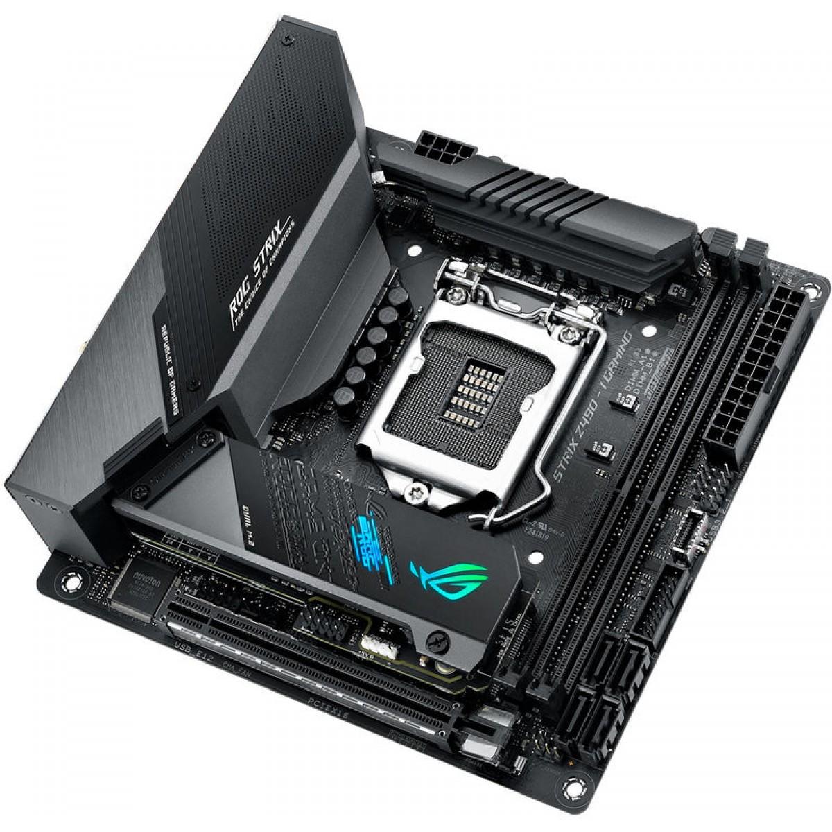Placa Mãe Asus Rog Strix Z490-I Gaming Wi-fi, Chipset Z490, Intel LGA 1200, Mini-ITX, DDR4