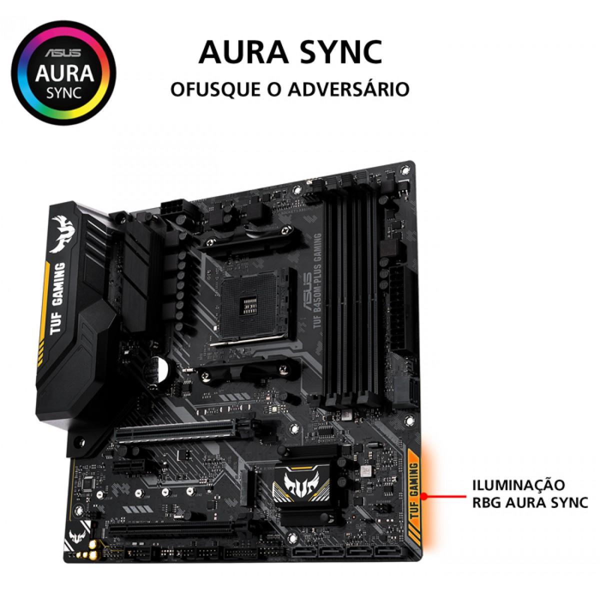 Placa Mãe Asus TUF B450M-PLUS GAMING, Chipset B450, AMD AM4, mATX, DDR4