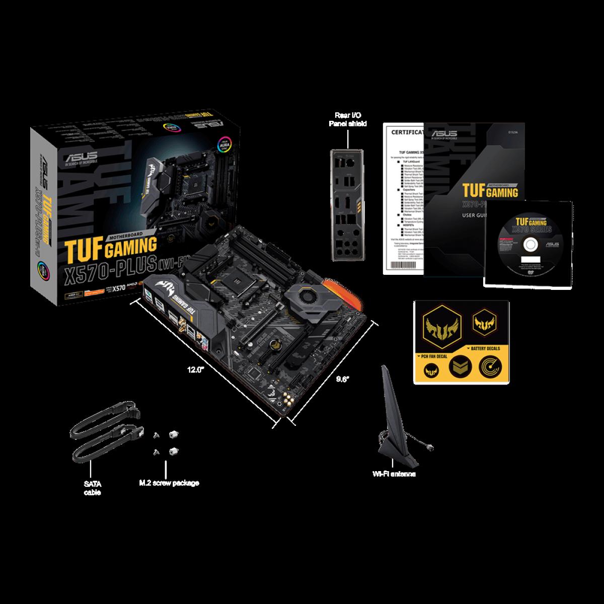 Placa Mãe Asus TUF Gaming X570-Plus Wi-Fi, Chipset X570, AMD AM4, ATX, DDR4, 90MB1170-M0EAY0 - IMP