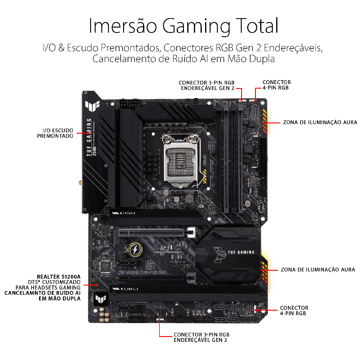 Placa Mãe Asus TUF Gaming Z590-Plus WIFI, Chipset Z590, Intel LGA 1200, ATX, DDR4, TUF GAMING Z590-PLUS WIFI