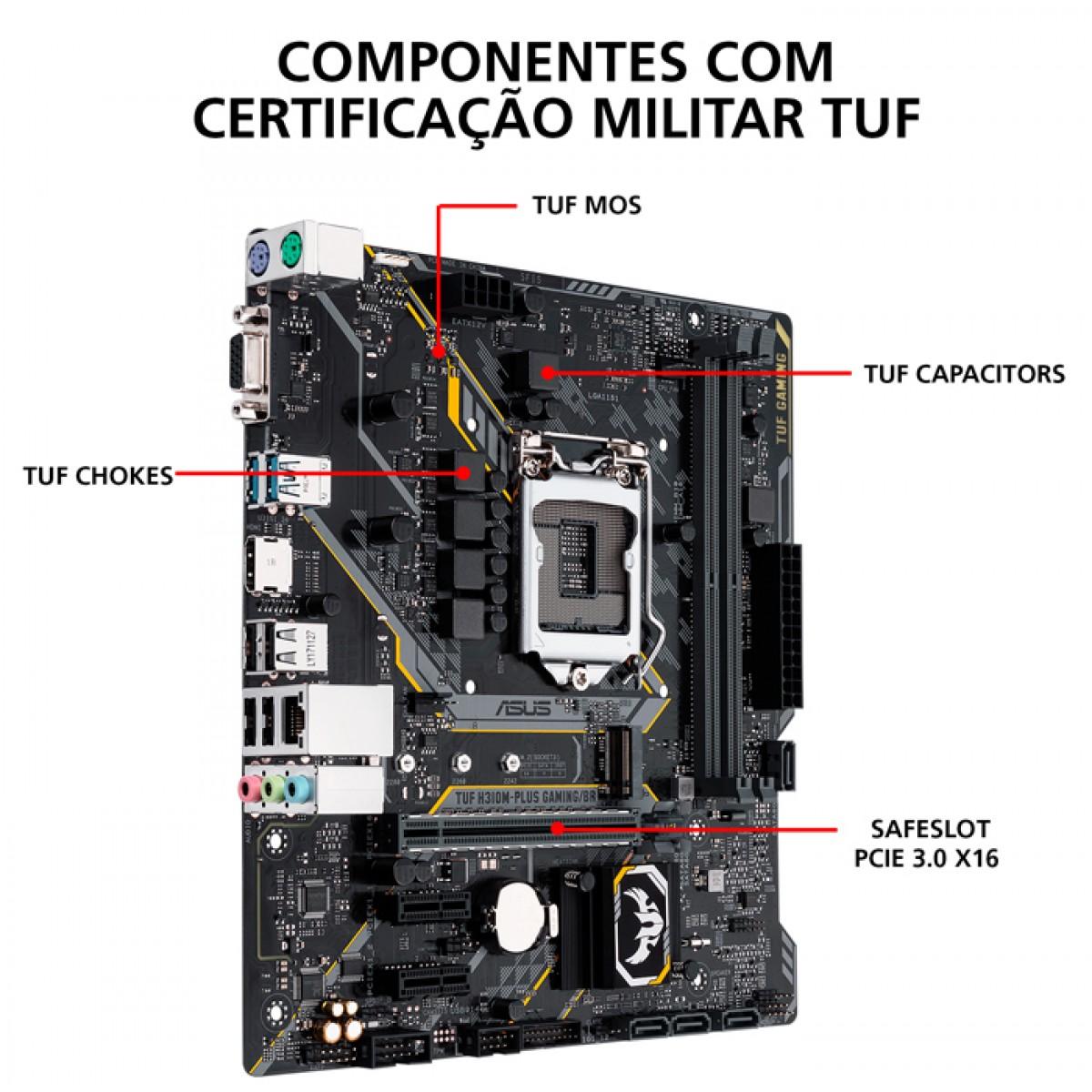 Placa Mãe Asus TUF H310M-Plus Gaming, Chipset H310, Intel LGA 1151, mATX, DDR4
