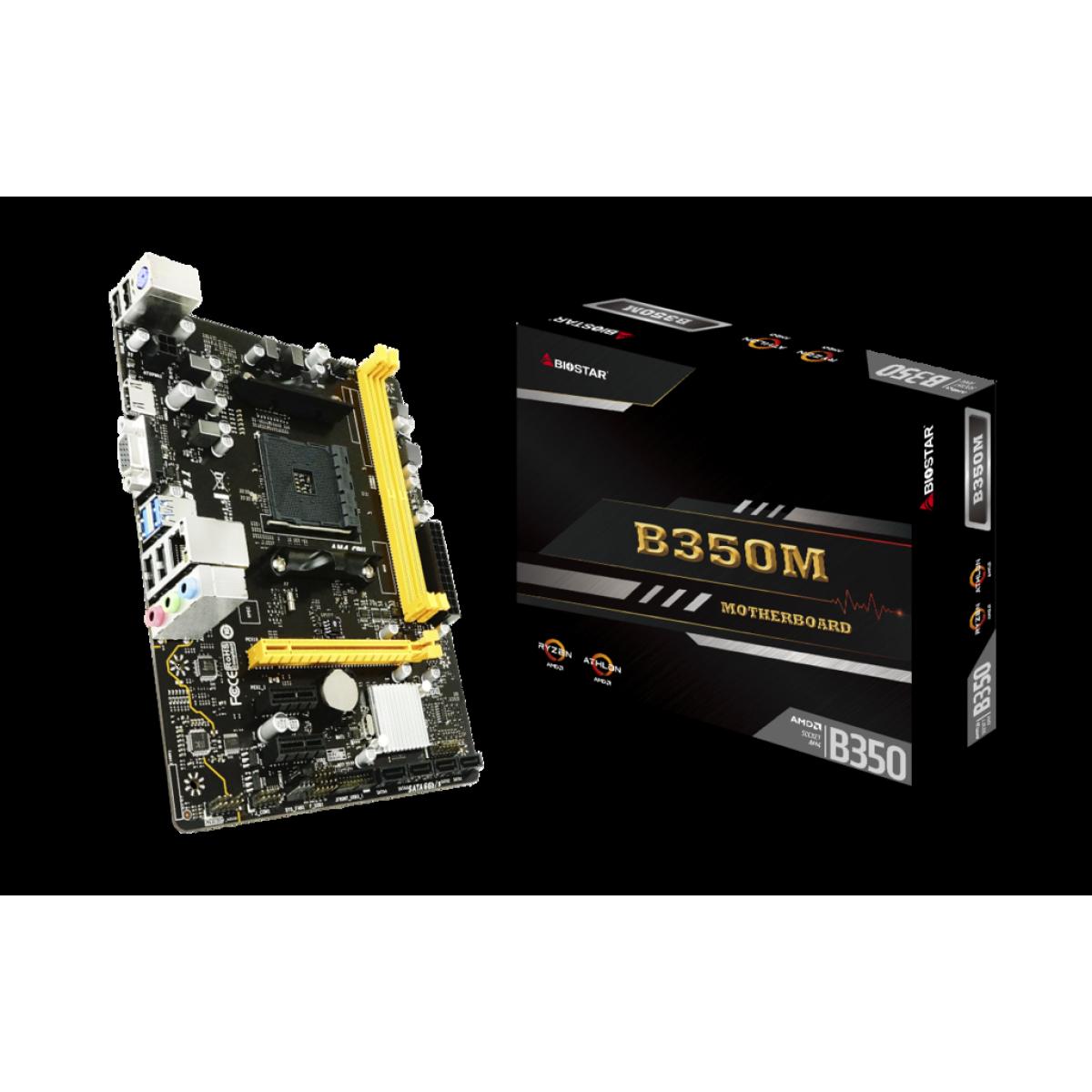 Placa Mãe Biostar B350M, Chipset B350, AMD AM4, mATX, DDR4