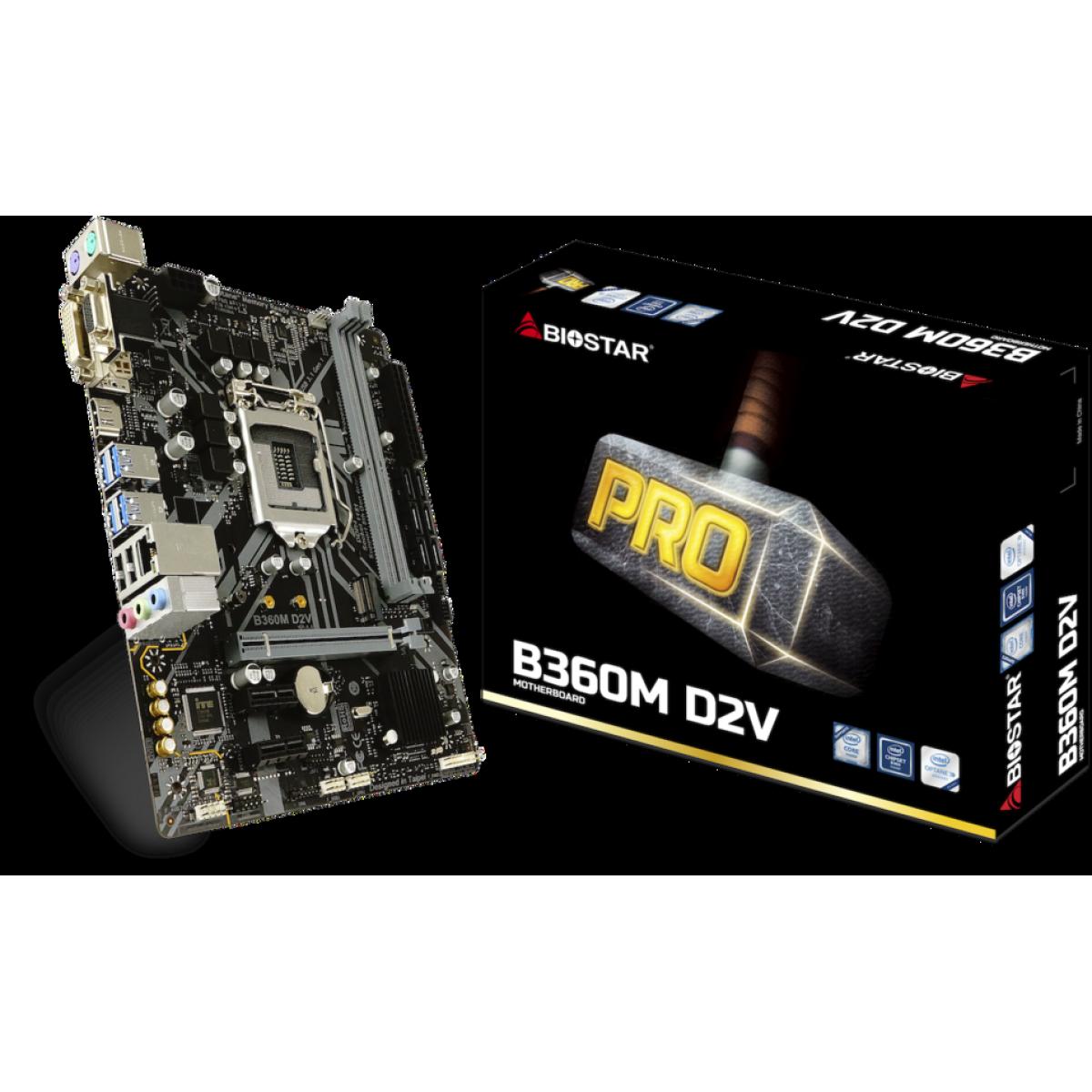 Placa Mãe Biostar B360M D2V, Chipset B360, Intel LGA 1151, mATX, DDR4