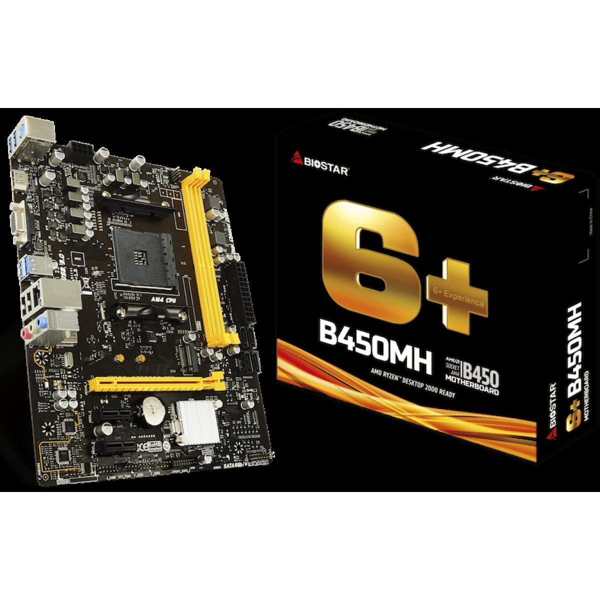 Placa Mãe Biostar B450MH, Chipset B450, AMD AM4, mATX, DDR4