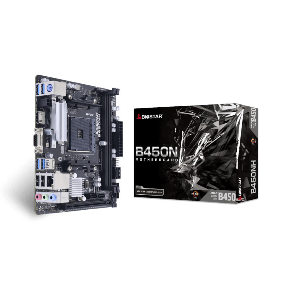 Placa Mãe Biostar B450NH, Chipset B450, AMD AM4, Mini ITX, DDR4, AB45AI4S-R01-BS210X