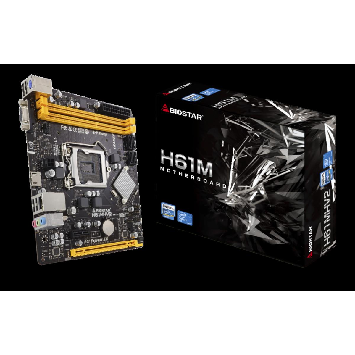 Placa Mãe Biostar H61MHV2 Ver. 7.0, Chipset H61, LGA 1155, mATX, DDR3