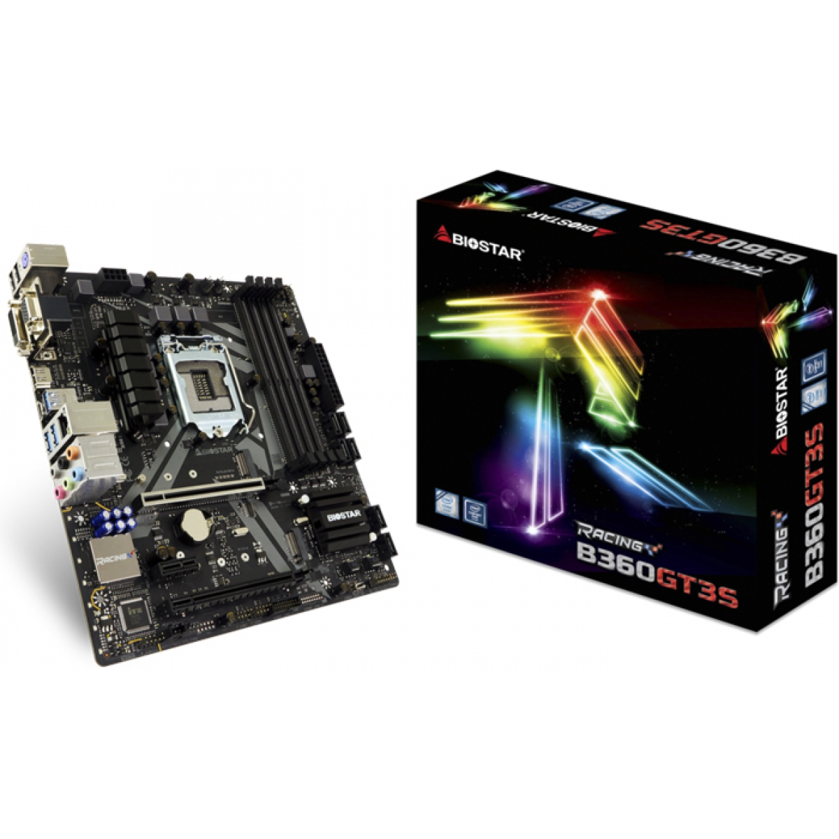 Placa Mãe Biostar Racing B360GT3S, Chipset B360, Intel LGA 1151, mATX, DDR4