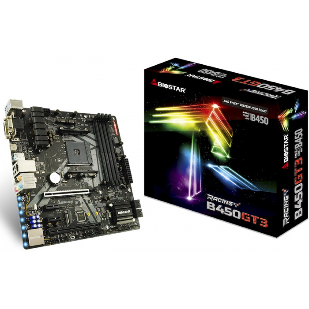 Placa Mãe Biostar Racing B450GT3, Chipset B450, AMD AM4, mATX, DDR4