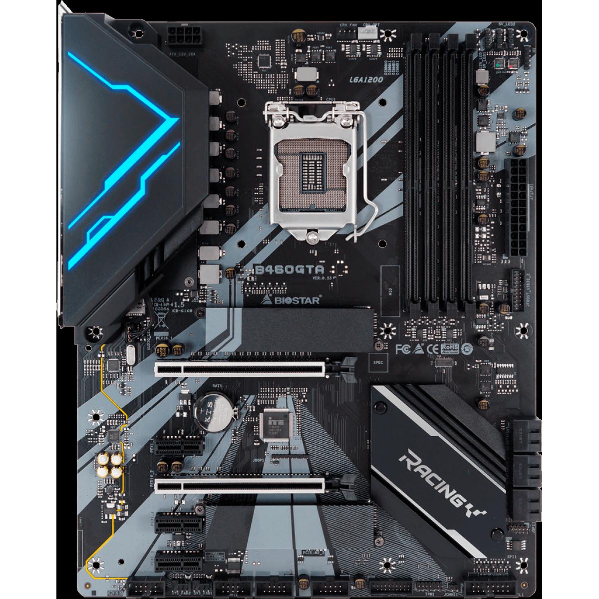 Placa Mãe Biostar Racing B460GTA VER 5.0, Chipset B460, Intel 1200, ATX, DDR4