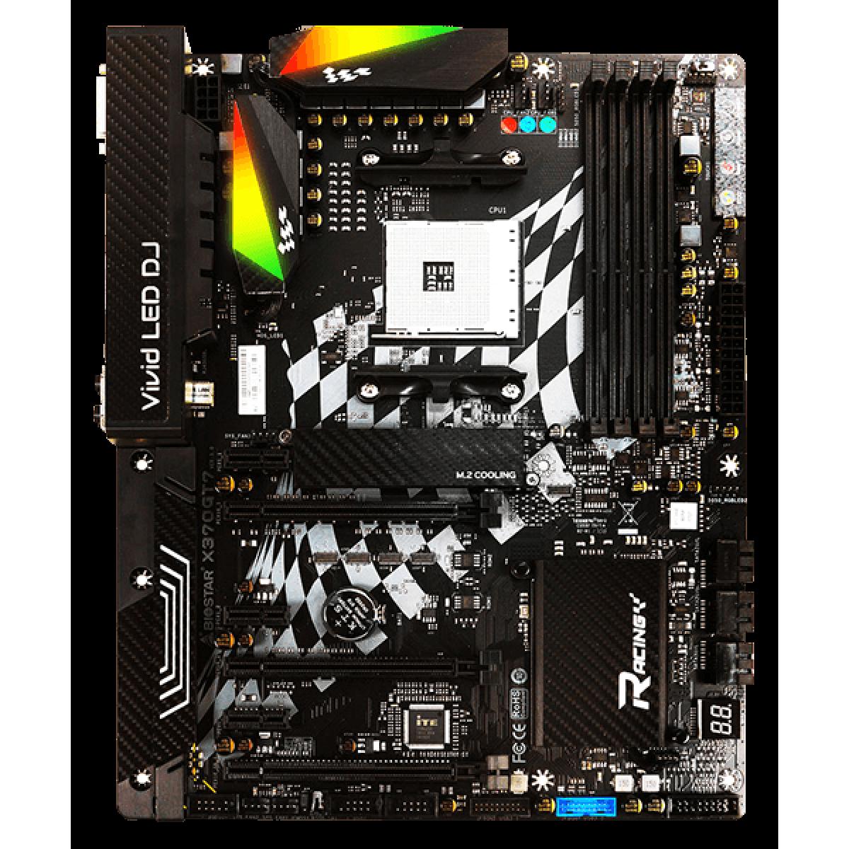 Placa Mãe Biostar Racing X370GT7, Chipset X370, AMD AM4, ATX, DDR4
