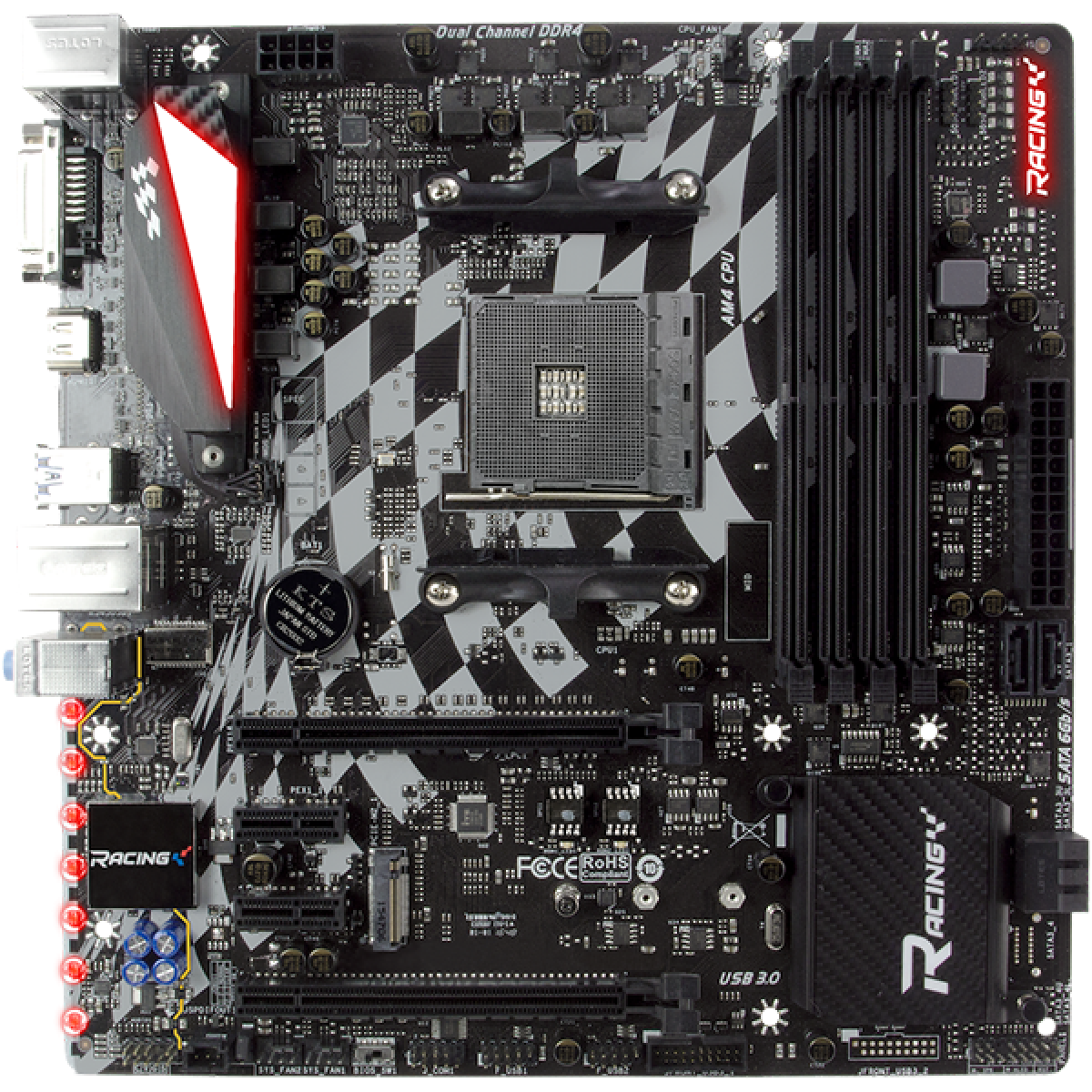 Placa Mãe Biostar Racing X470GTQ, Chipset X470, AMD AM4, MATX, DDR4