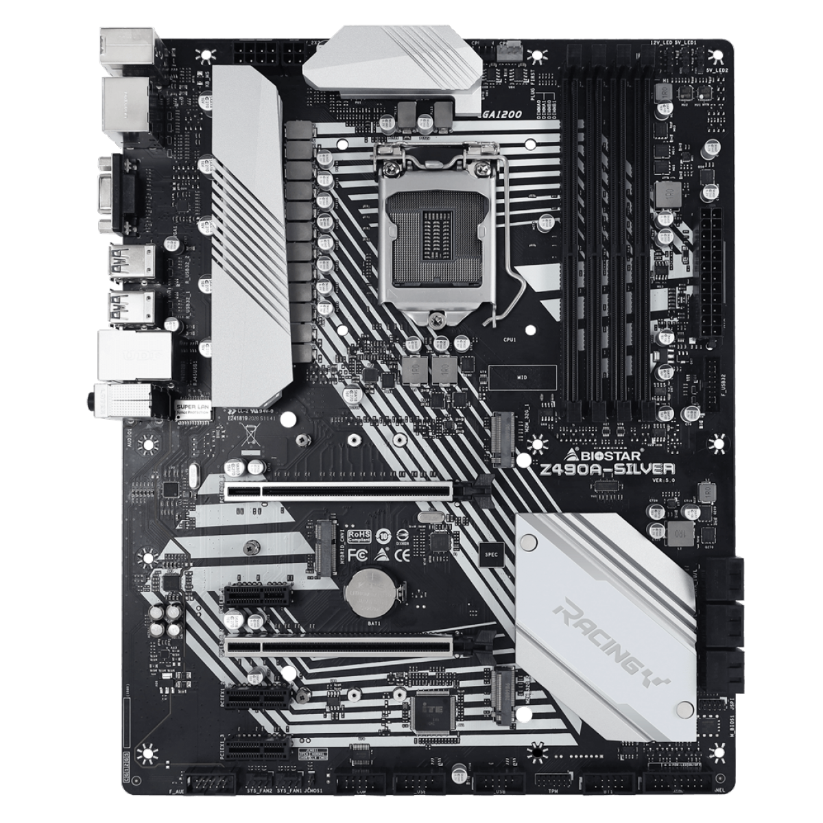 Placa Mãe Biostar Racing Z490A-Silver, Chipset Z490, Intel LGA 1200, ATX, DDR4, IZ49CAHT-R01-BS210X