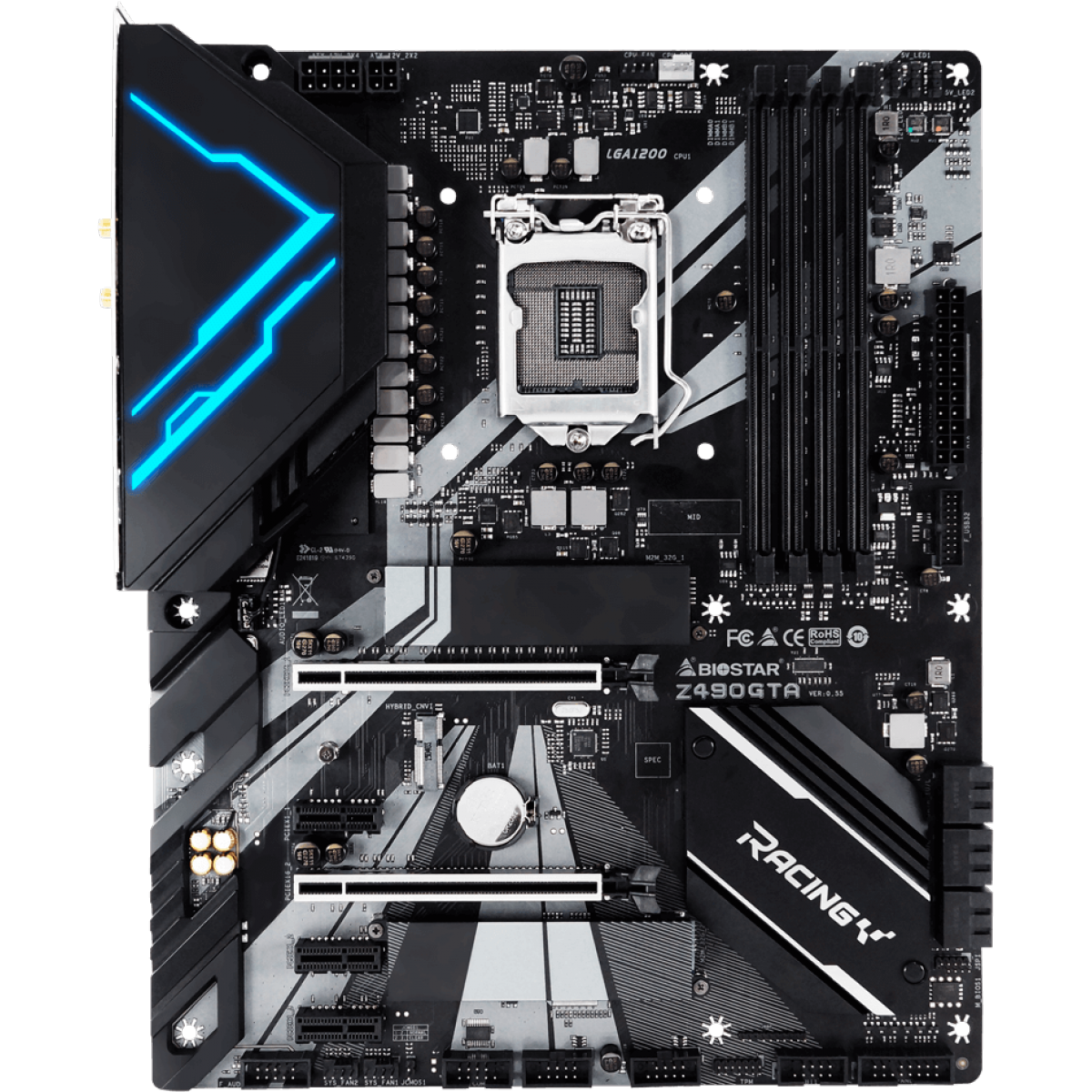 Placa Mãe Biostar Racing Z490GTA, Chipset Z490, Intel 1200, ATX, DDR4