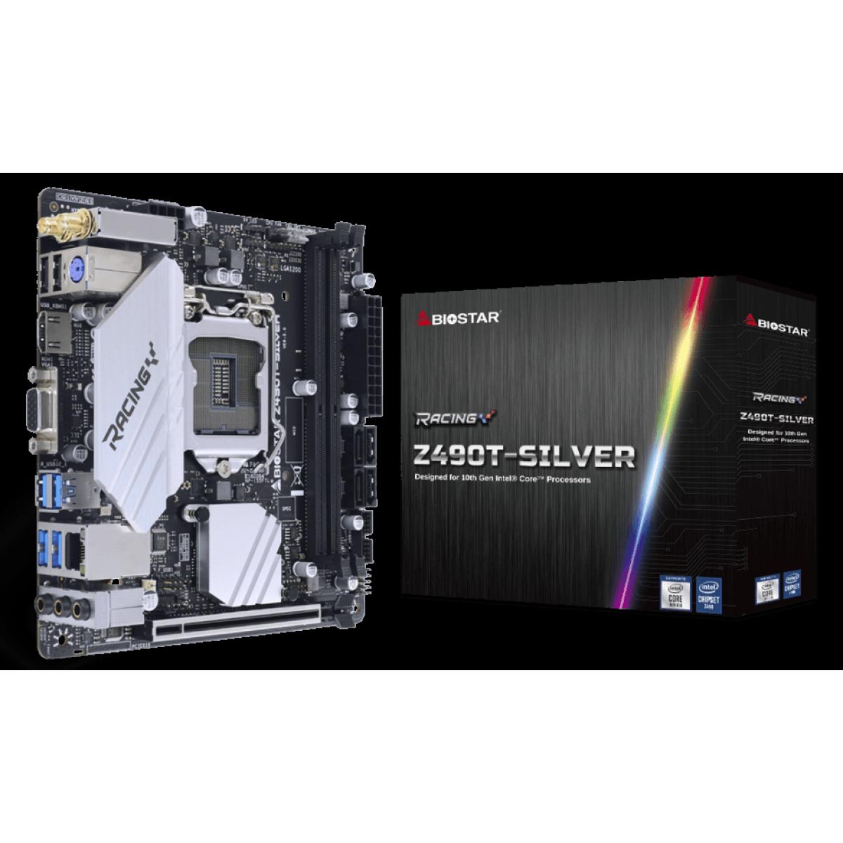 Placa Mãe Biostar Racing Z490T-Silver, Chipset Z490, Intel LGA 1200, Mini-ITX, DDR4, IZ49BIHT-R01-BS210X