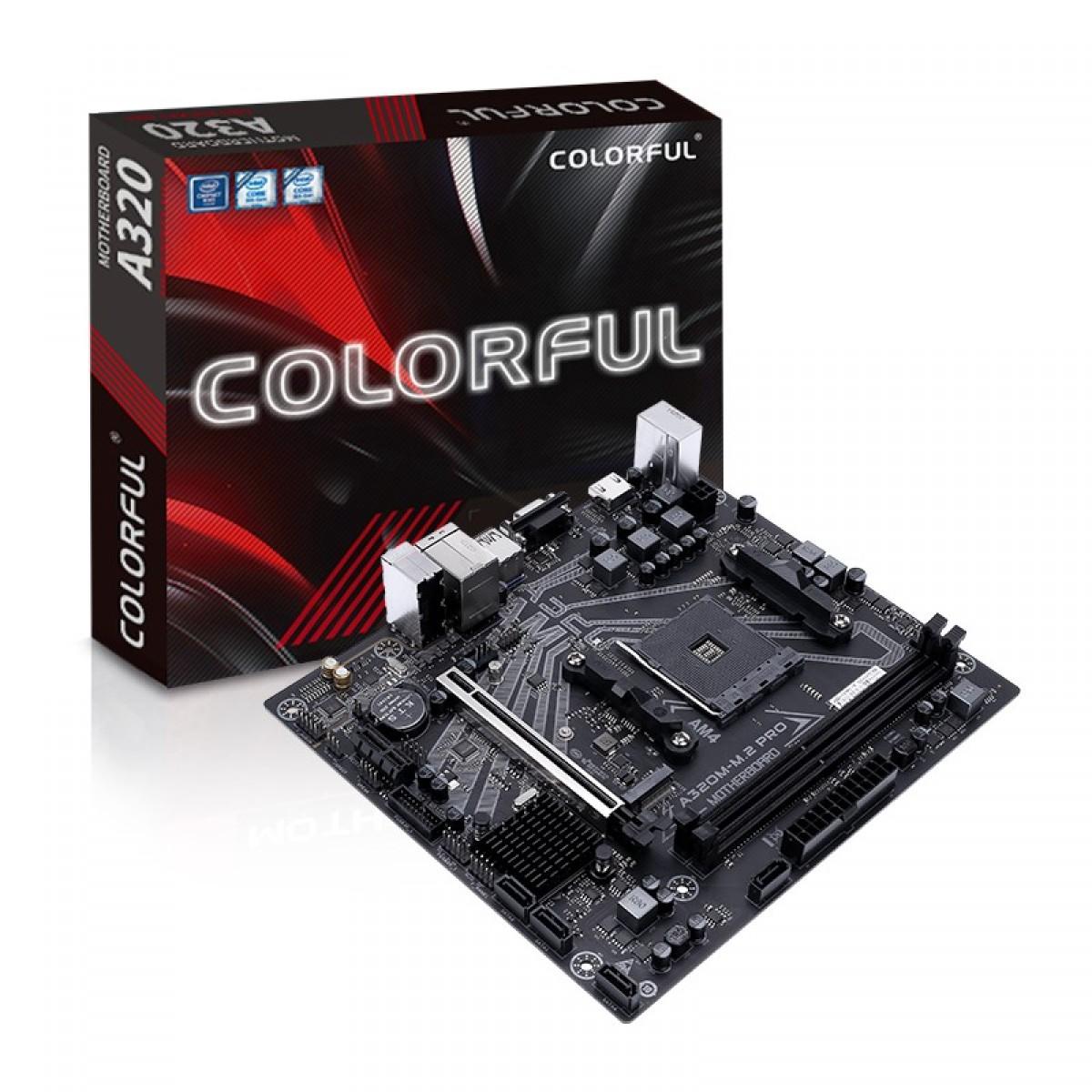 Placa Mãe Colorful A320M-M.2 PRO V15, Chipset A320, AMD AM4, MATX, DDR4