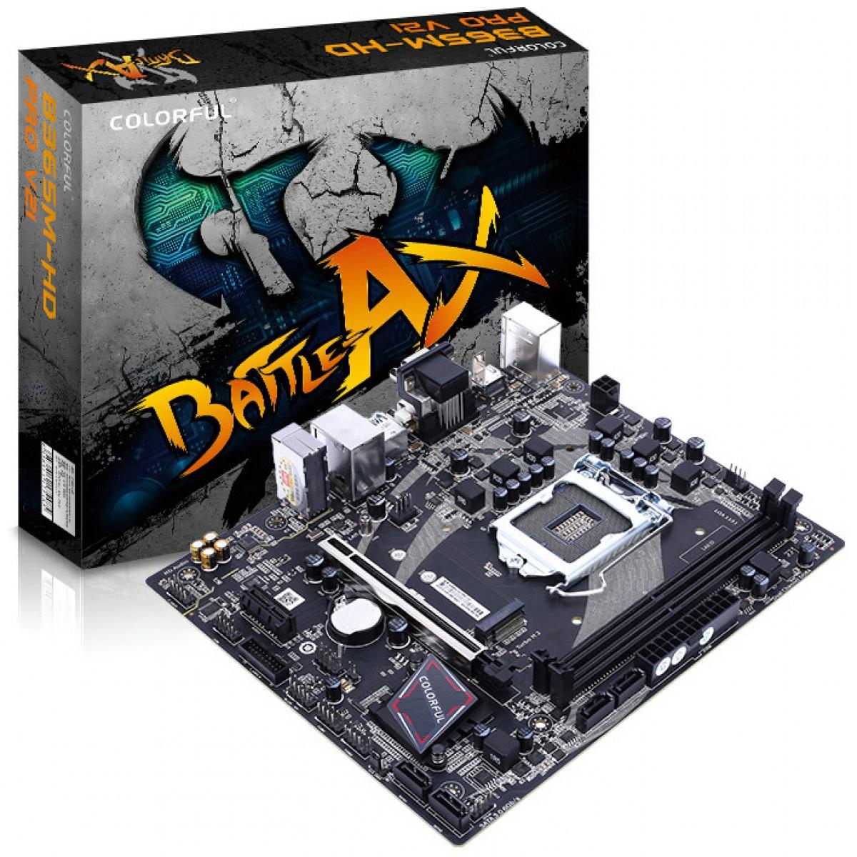 Placa Mãe Colorful BATTLE-AX B365M-HD PRO V21, Chipset B365, Intel LGA 1151, mAXT, DDR4, 110001204311