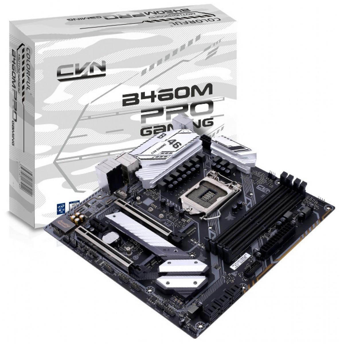 Placa Mãe Colorful CVN B460M GAMING PRO V20, Chipset B460, Intel LGA 1200, AXT, DDR4, 110013207701