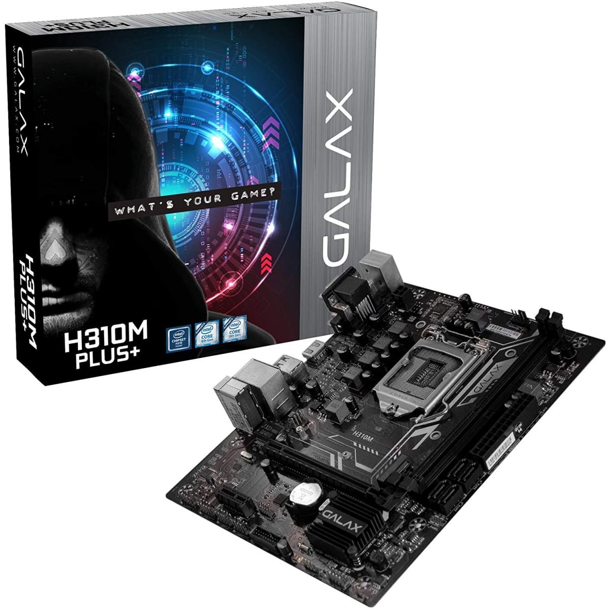 Placa Mãe Galax H310M Plus+, Chipset H310, Intel LGA 1151, mATX, DDR4, IH31CMAGCXJ1CW