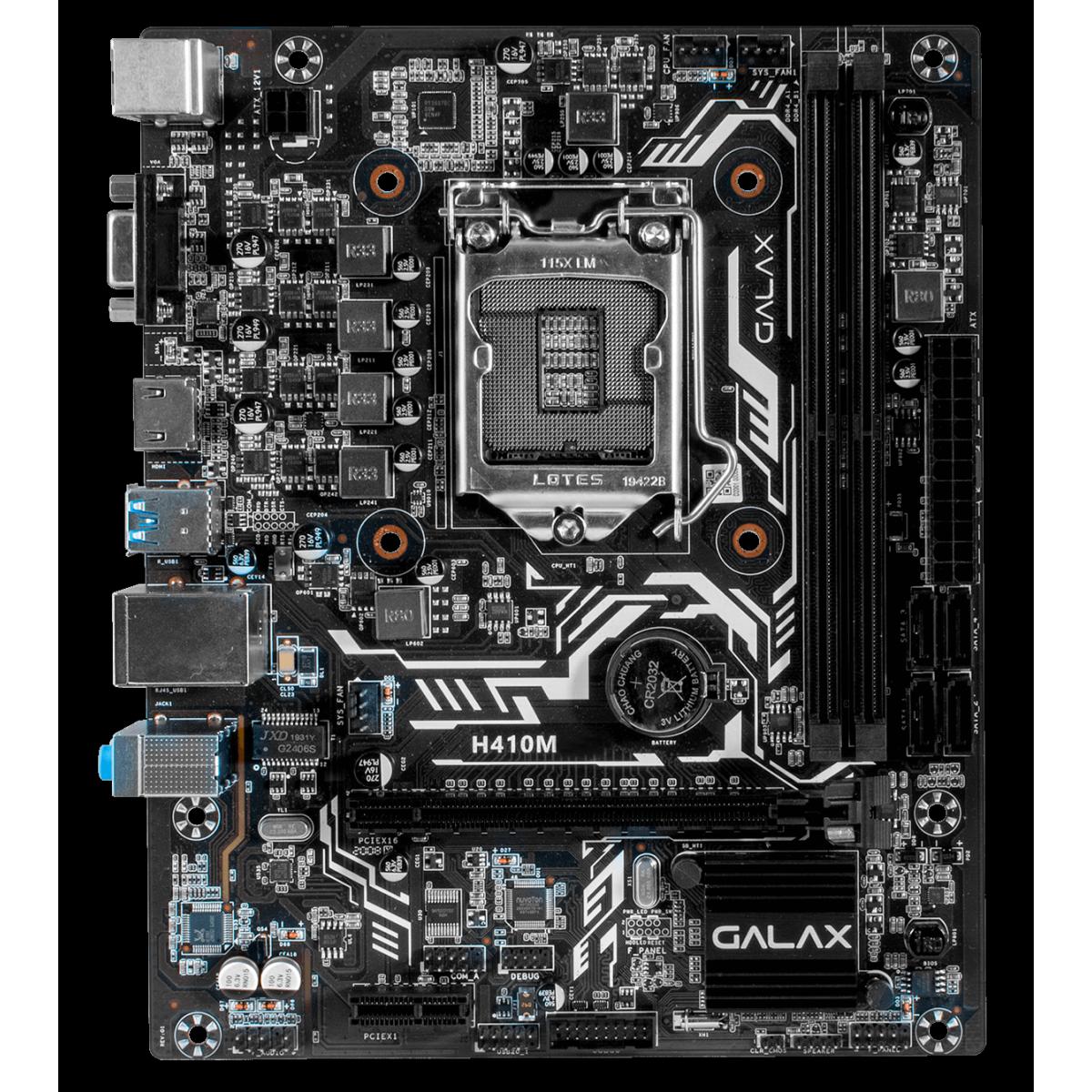 Placa Mãe GALAX H410M Elite, Chipset H410, Intel LGA 1200, mATX, IH410MAGBAY1CW
