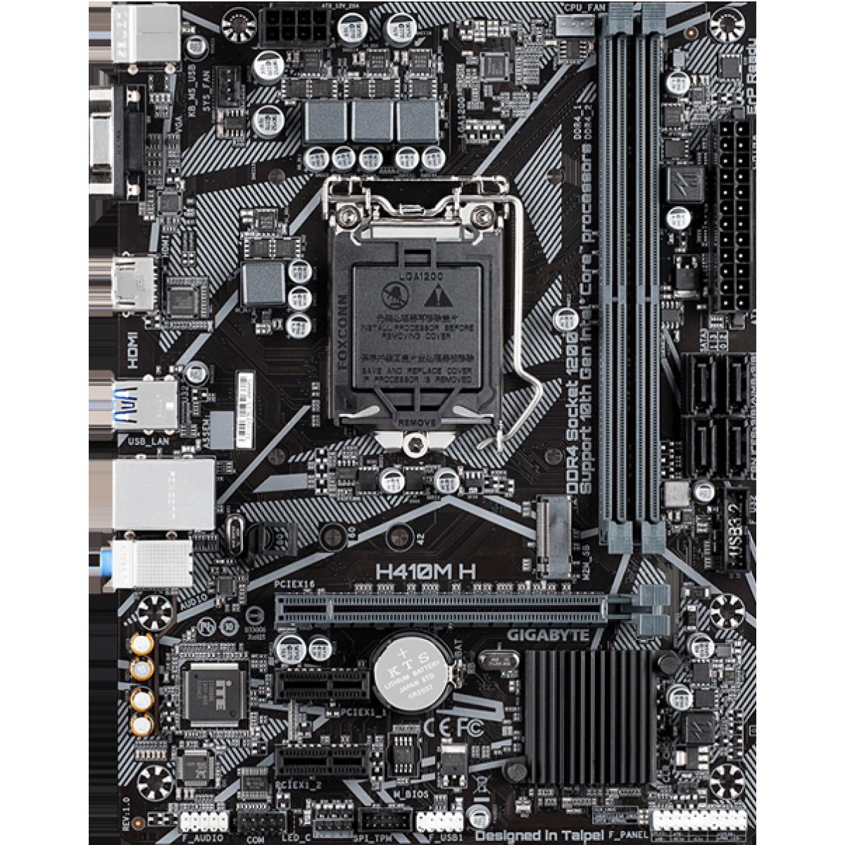 Placa Mãe Gigabyte, H410M-H, Chipset H410, Intel LGA 1200, mATX, DDR4