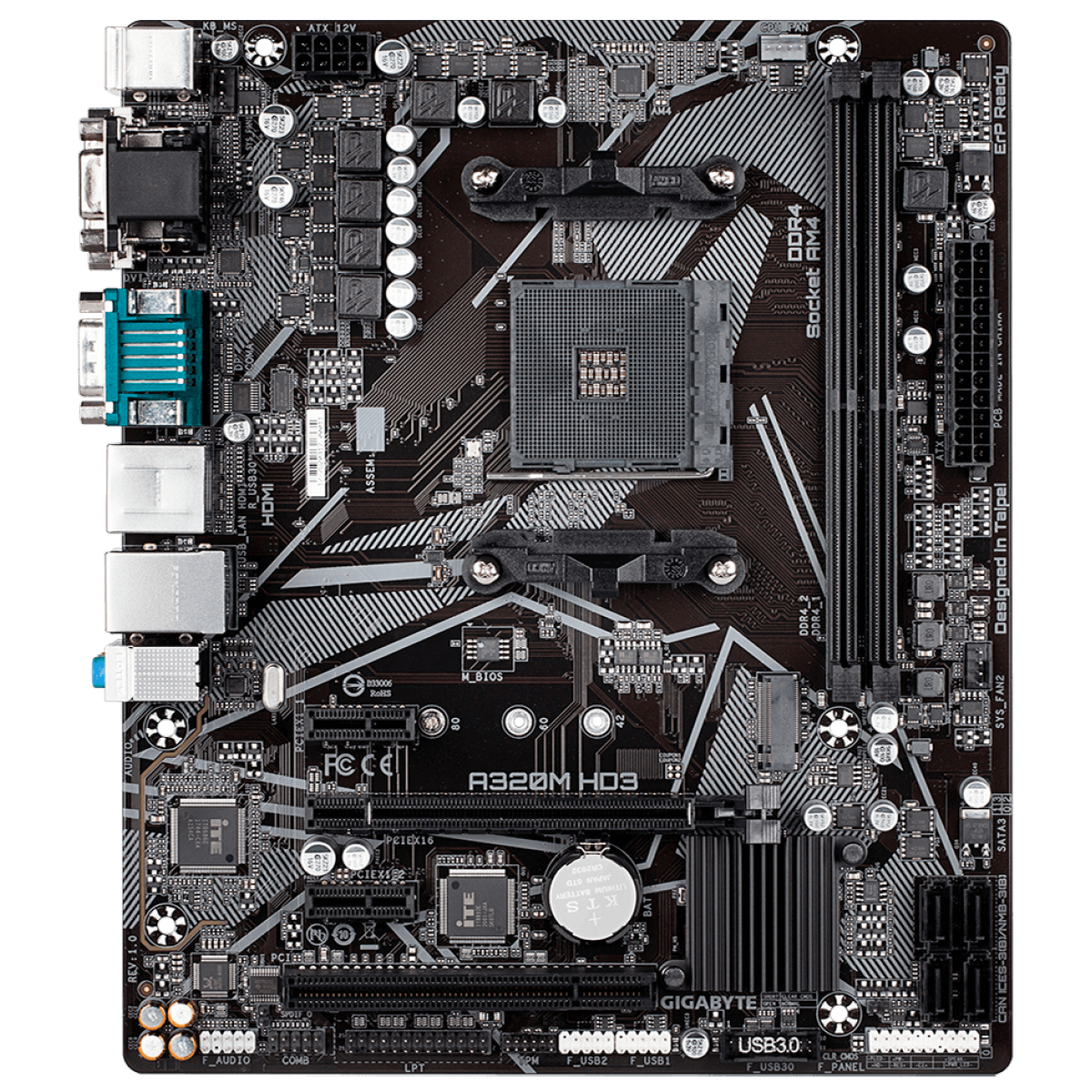 Placa Mãe Gigabyte A320M HD3, Chipset A320M, AMD AM4, mATX, DDR4, 9MA32MHD3-00-10